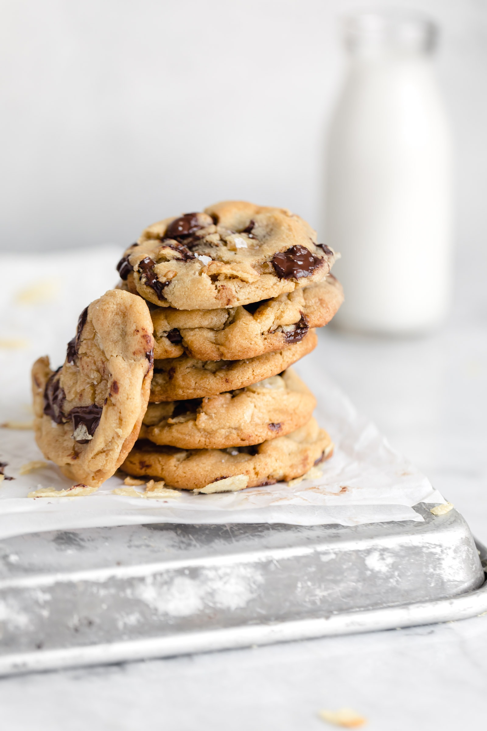 stack of potato chip chocolate chip cookies
