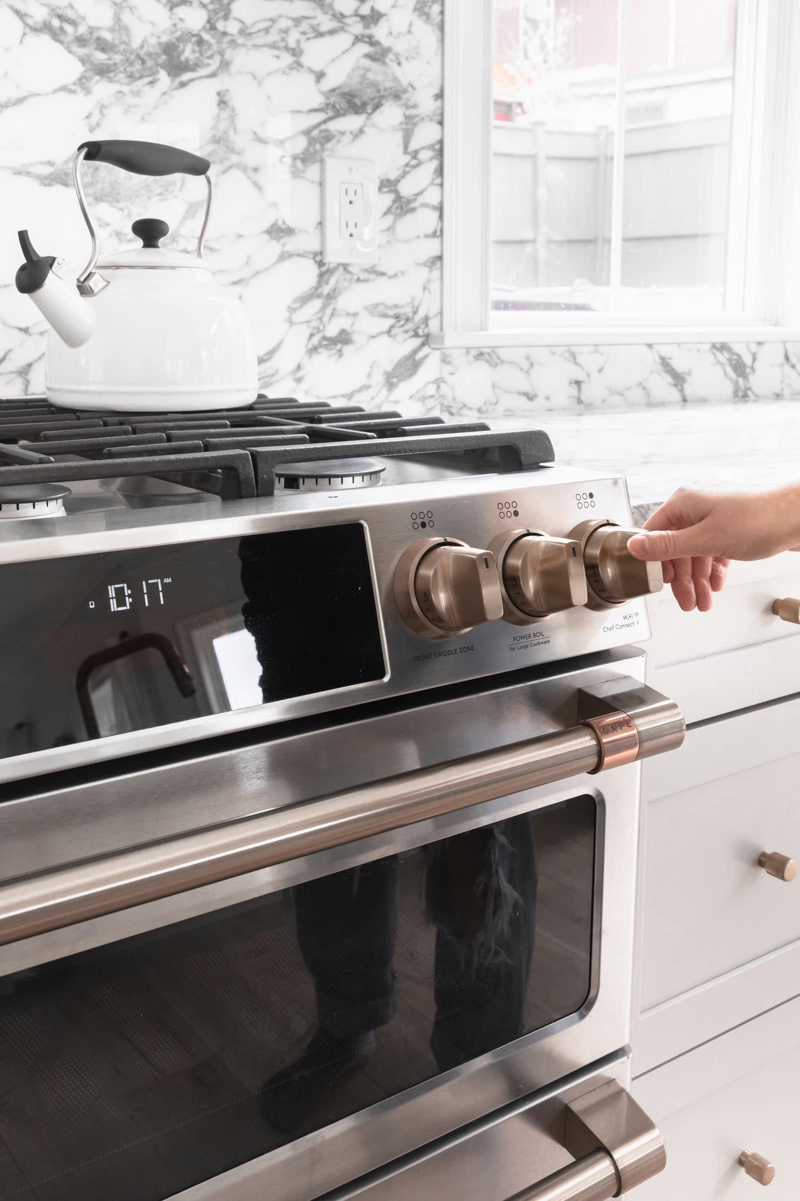 turning on stove