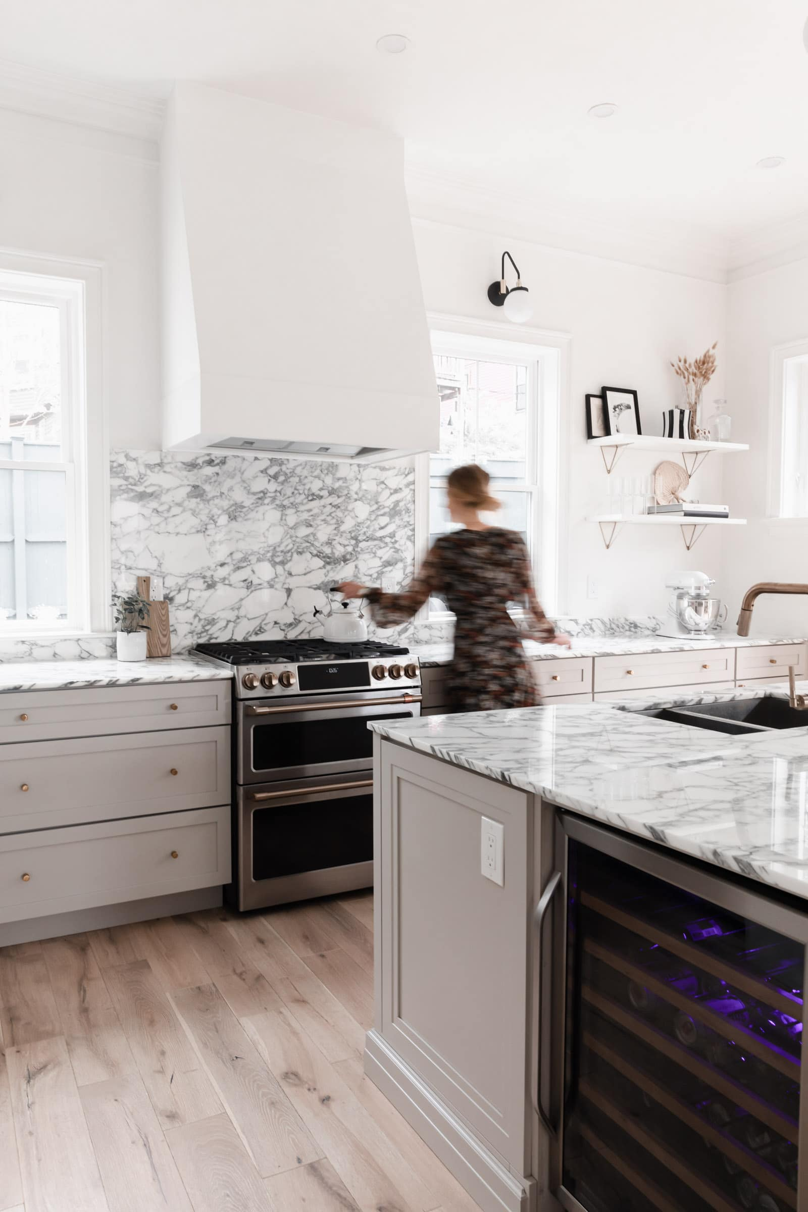 modern kitchen with marble counters