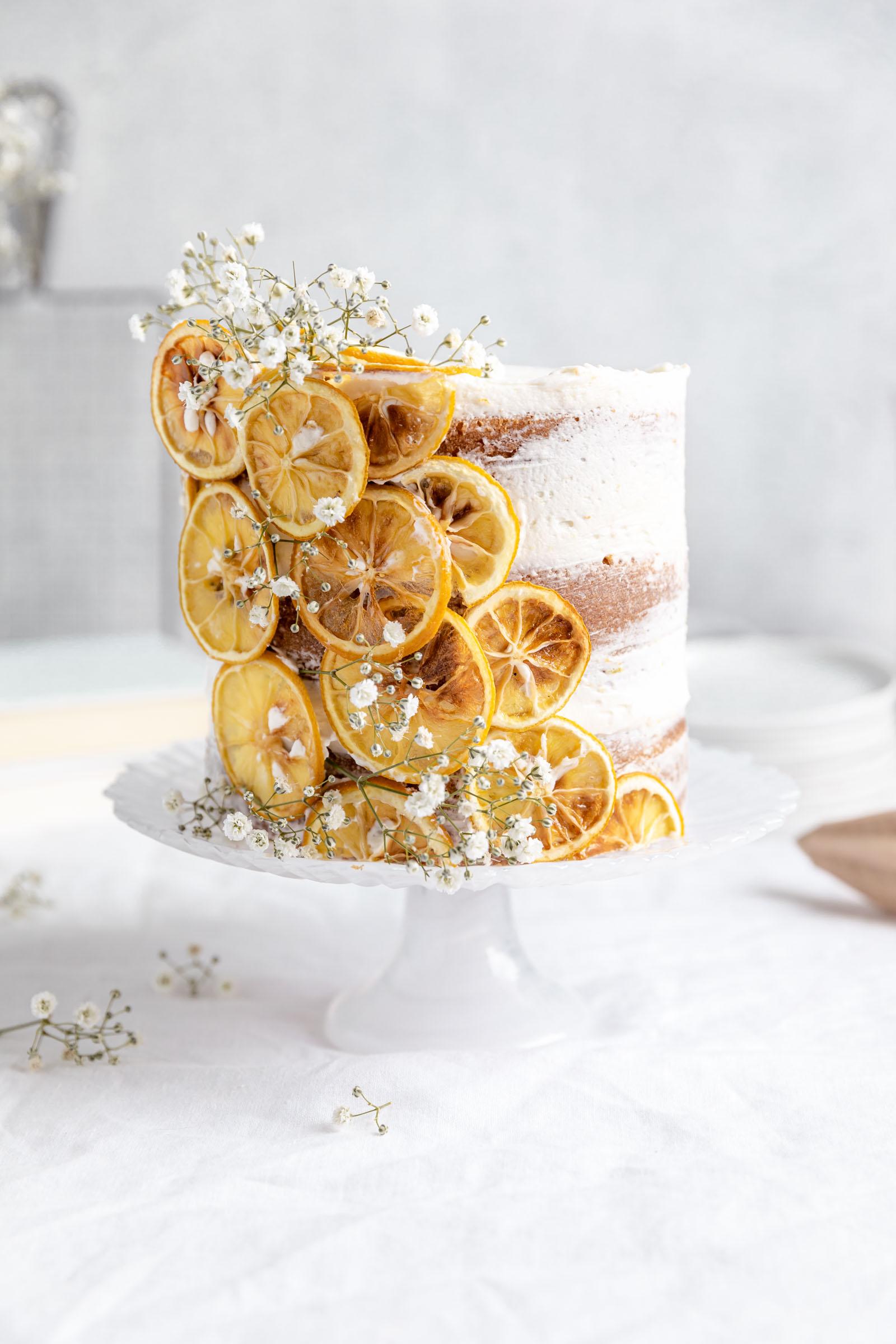 lemon layer cake with lemon garnish