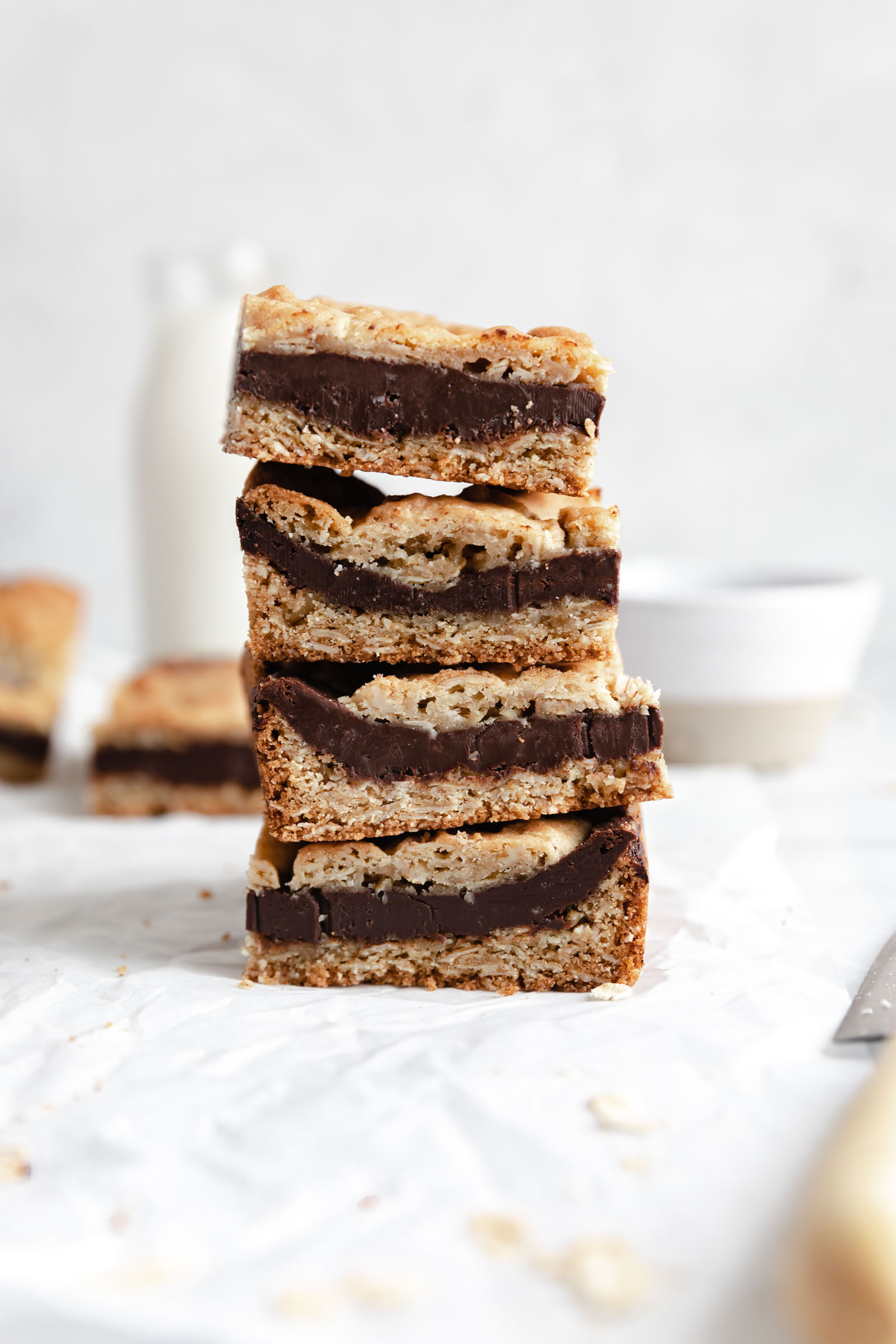 oatmeal fudge cookie bars in a stack