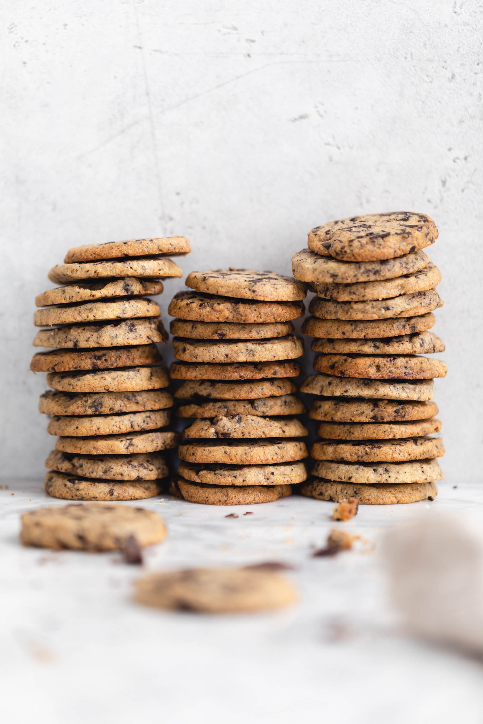 stacks of chocolate chip icebox cookies