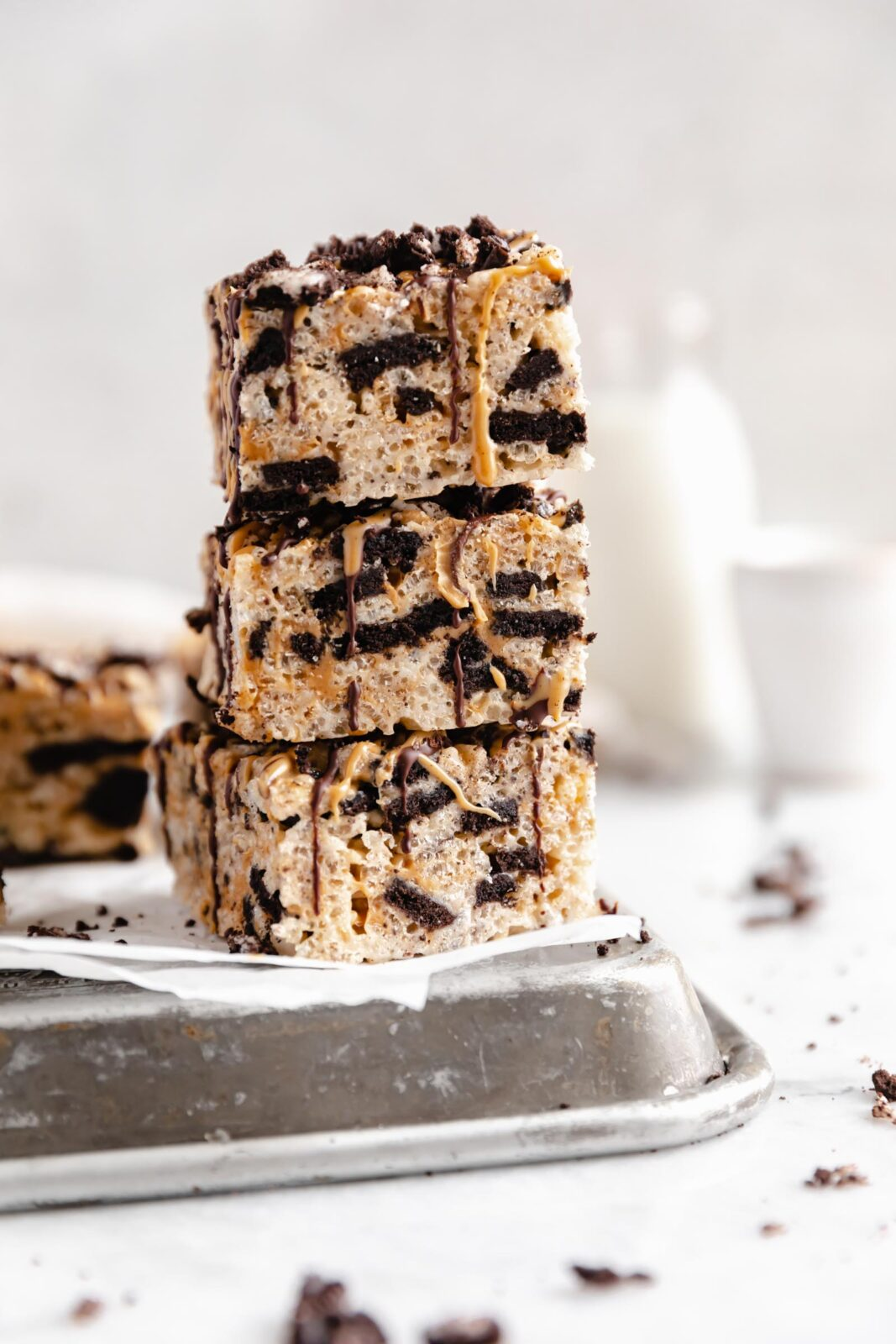 stack of peanut butter oreo rice krispies