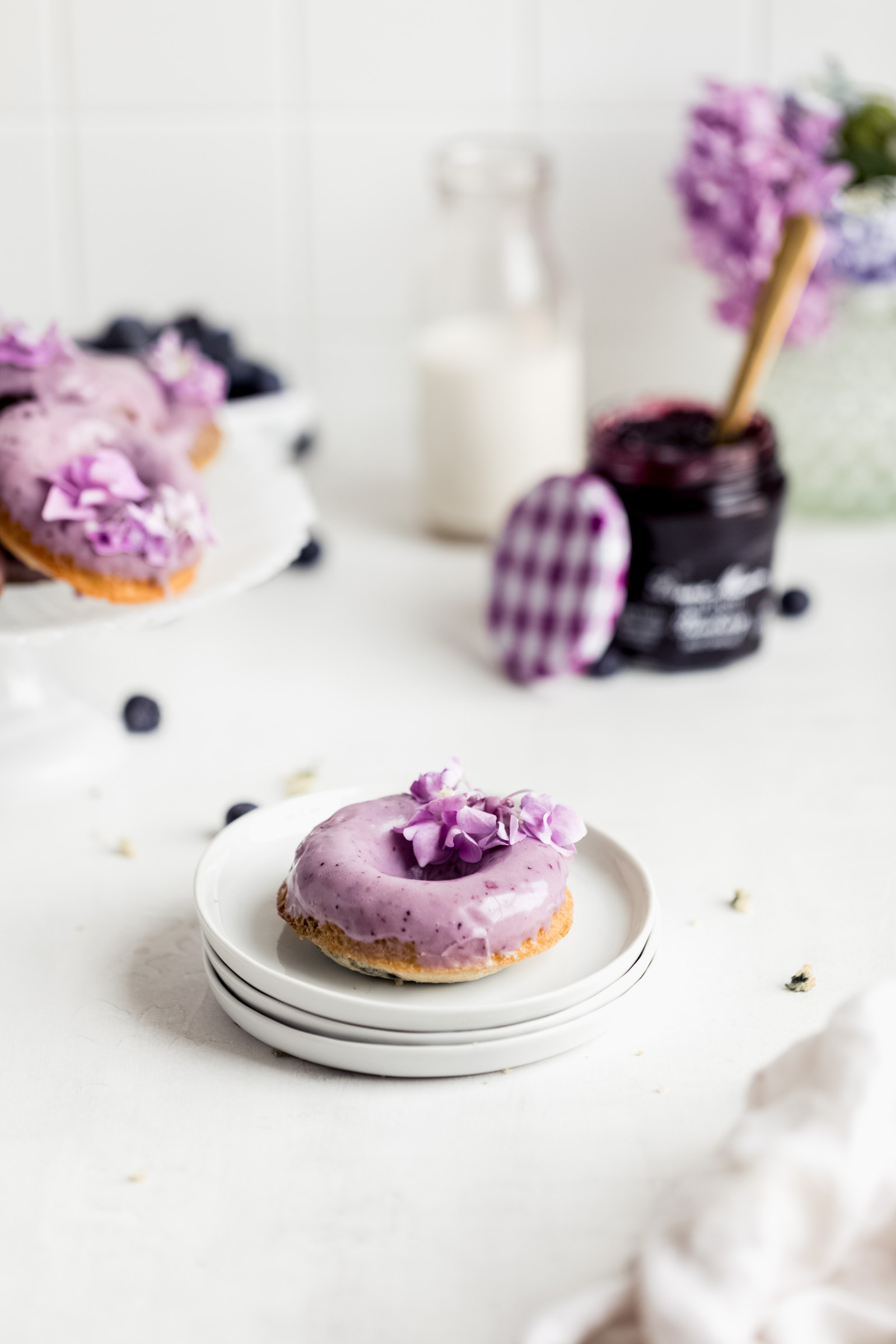 baked blueberry donut on a plate