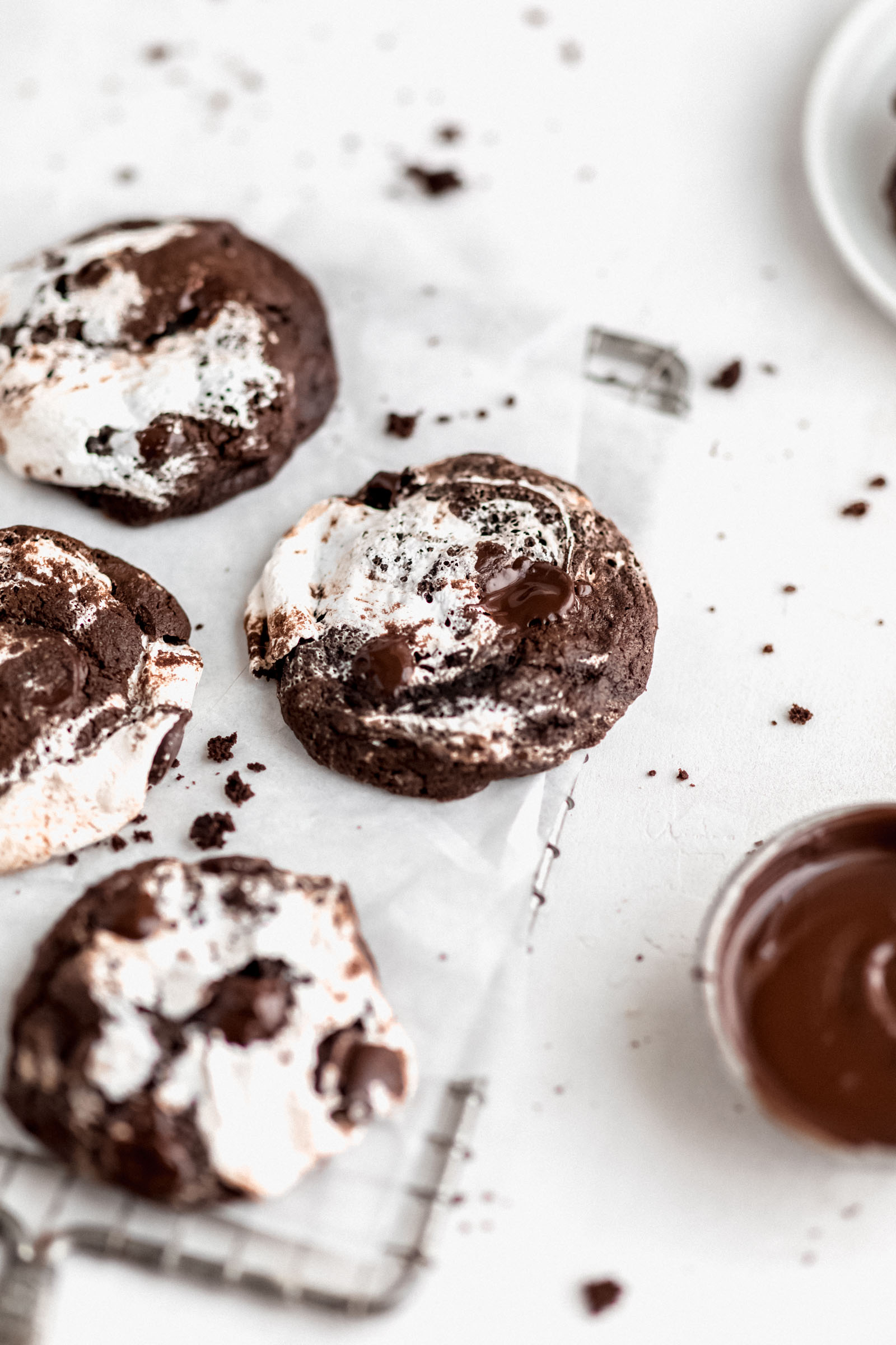 chocolate marshmallow cookies on a cooling rack