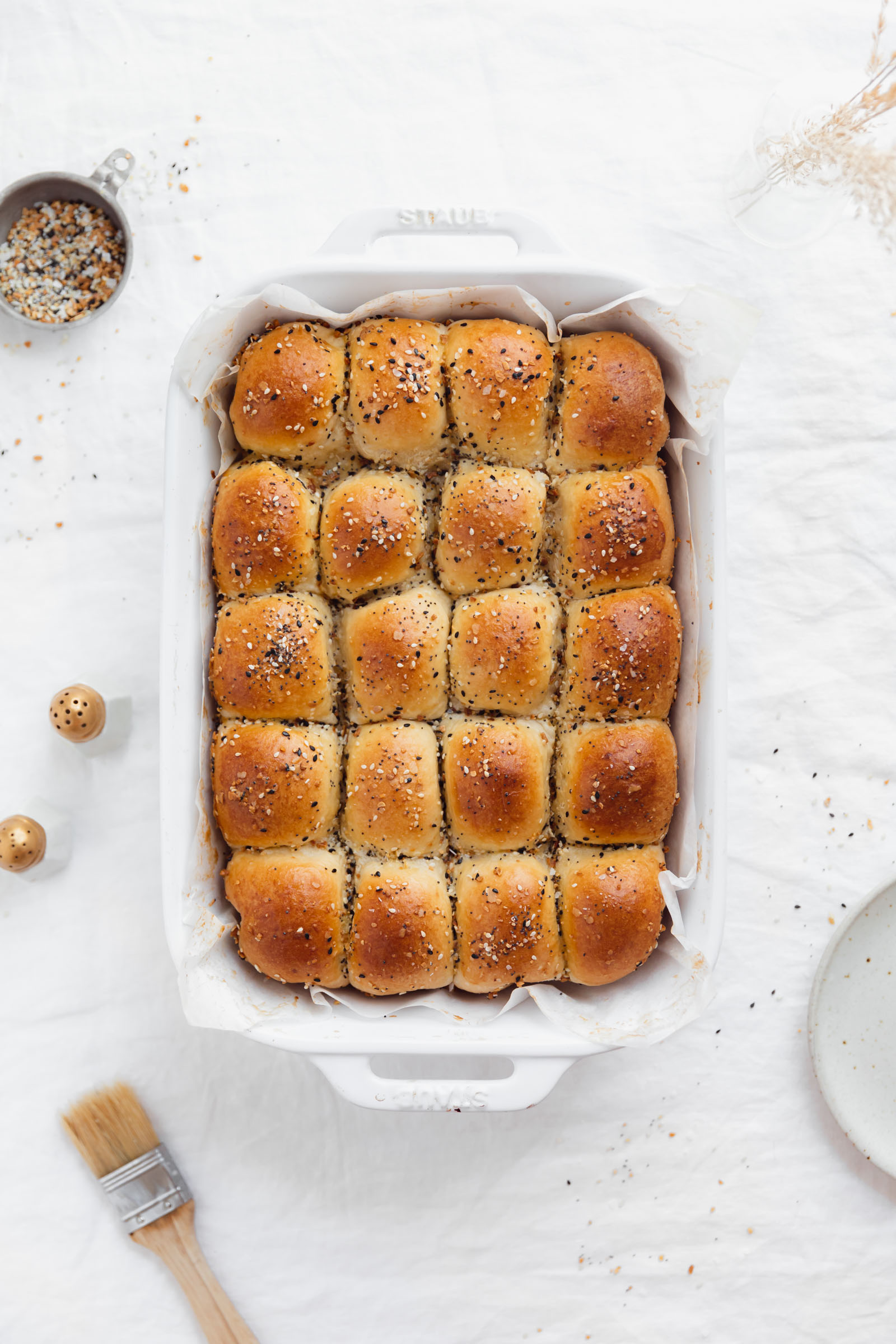 everything parker house rolls in a pan