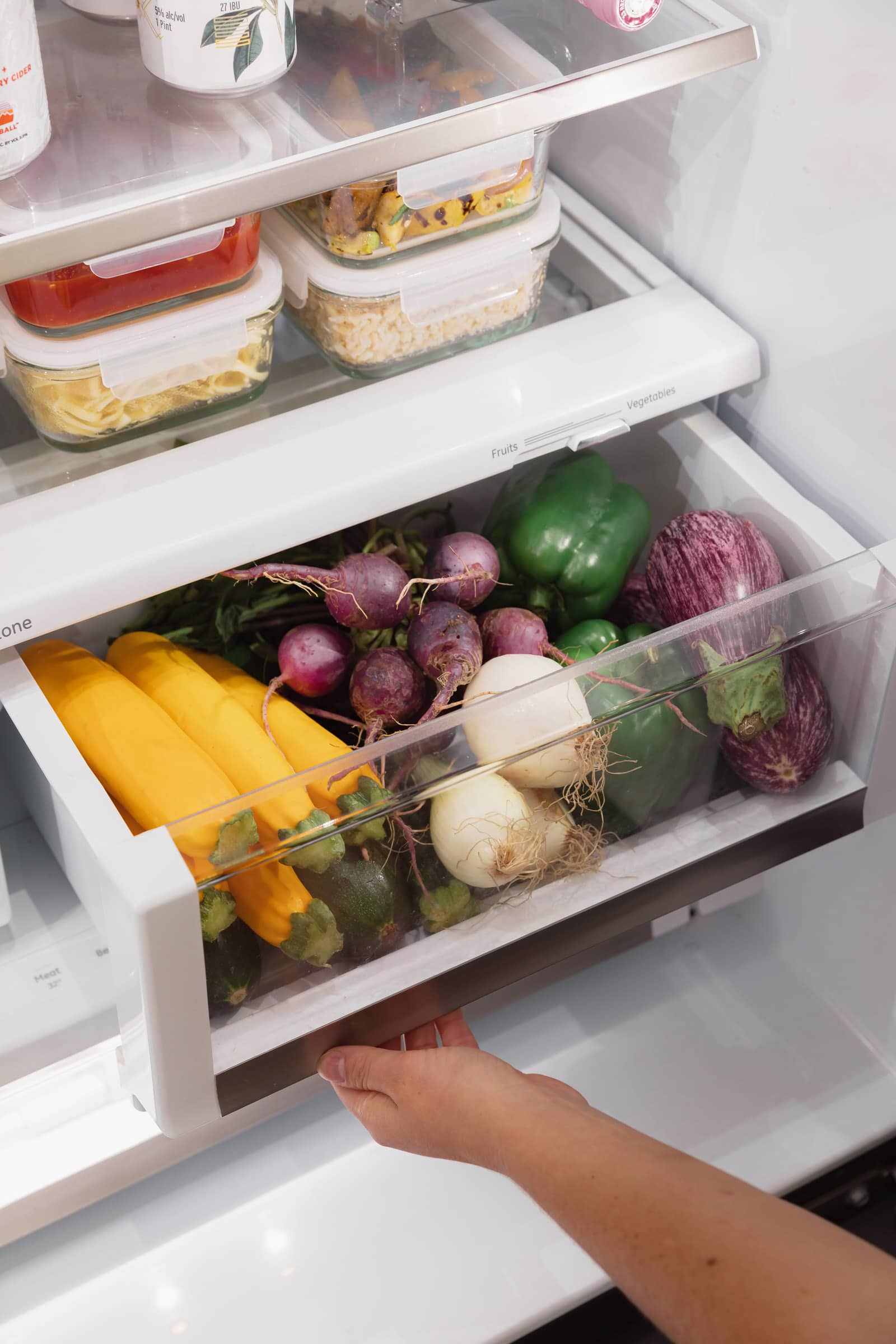 organized fridge crisper drawer