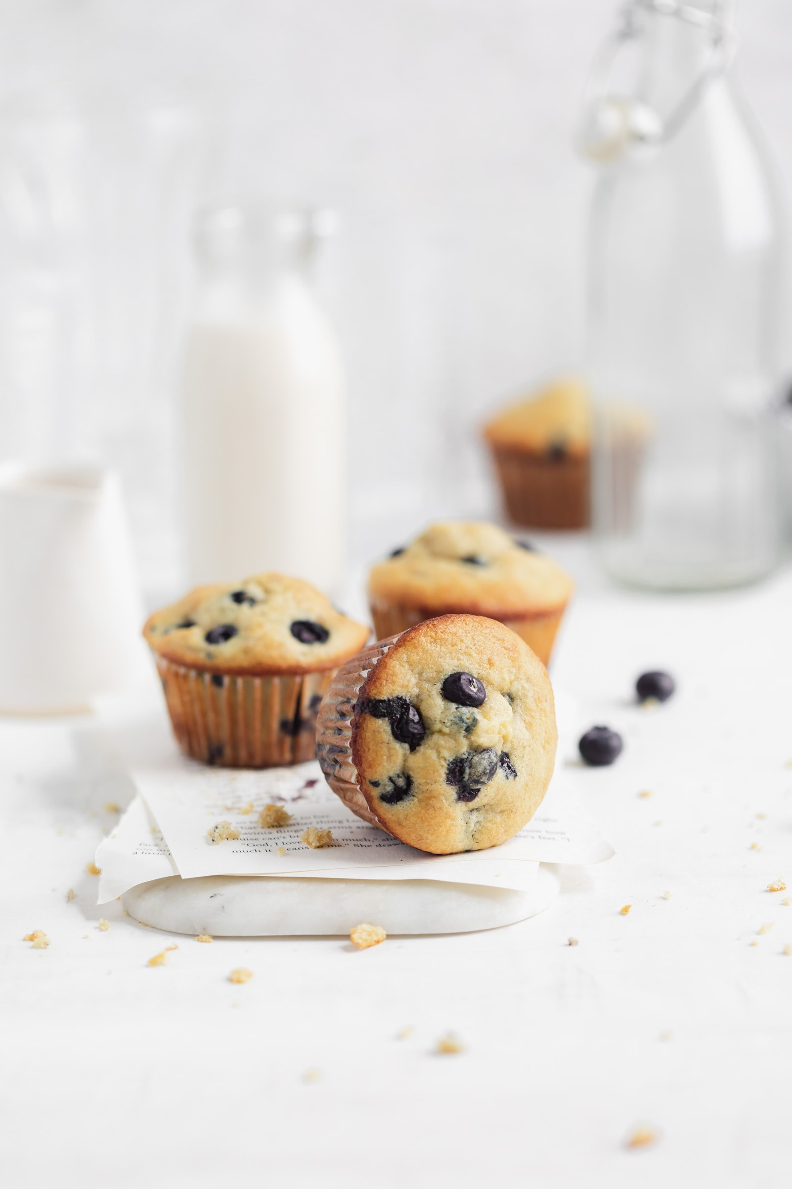 blueberry corn bread muffins with milk