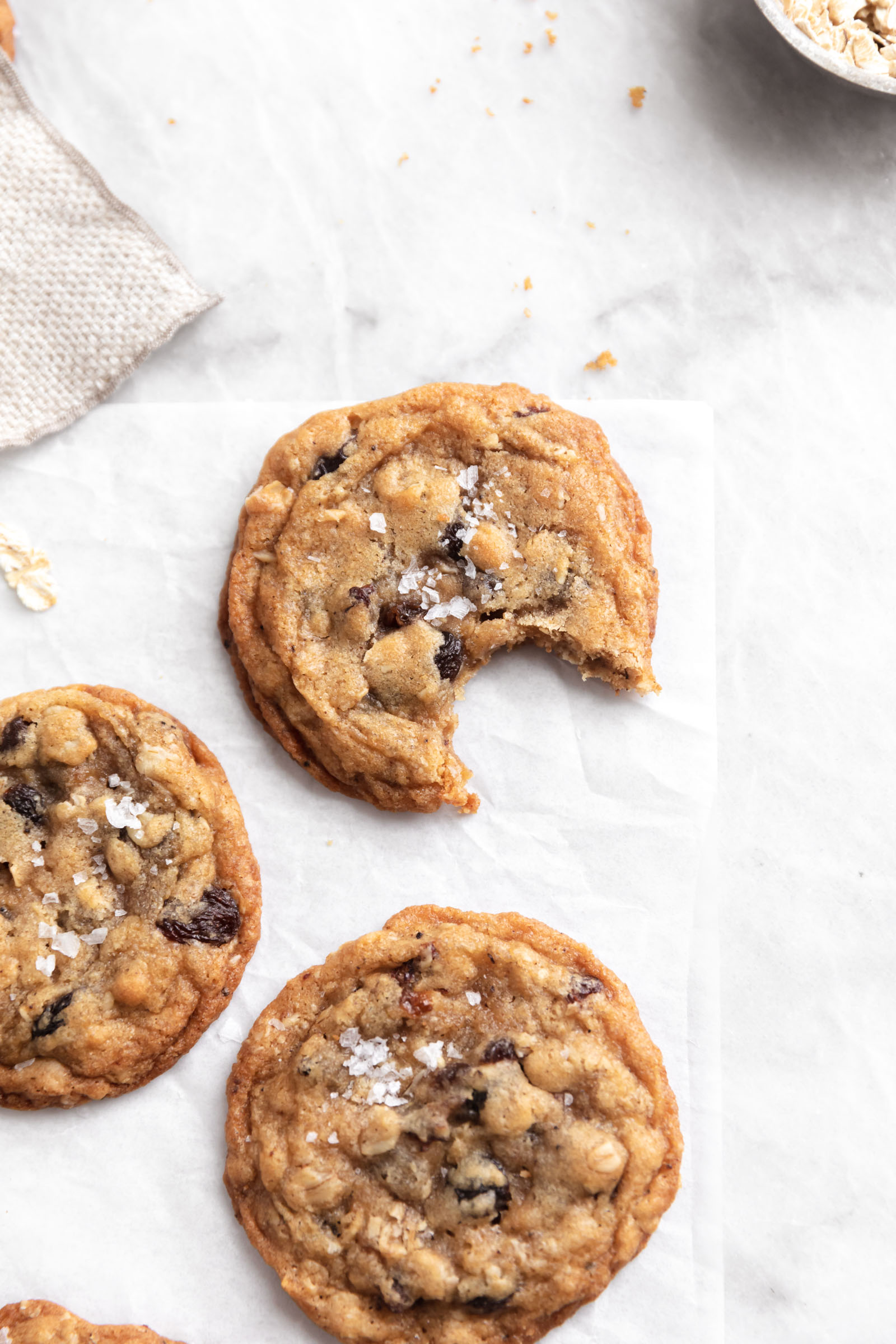brown butter oatmeal raisin cookies on marble