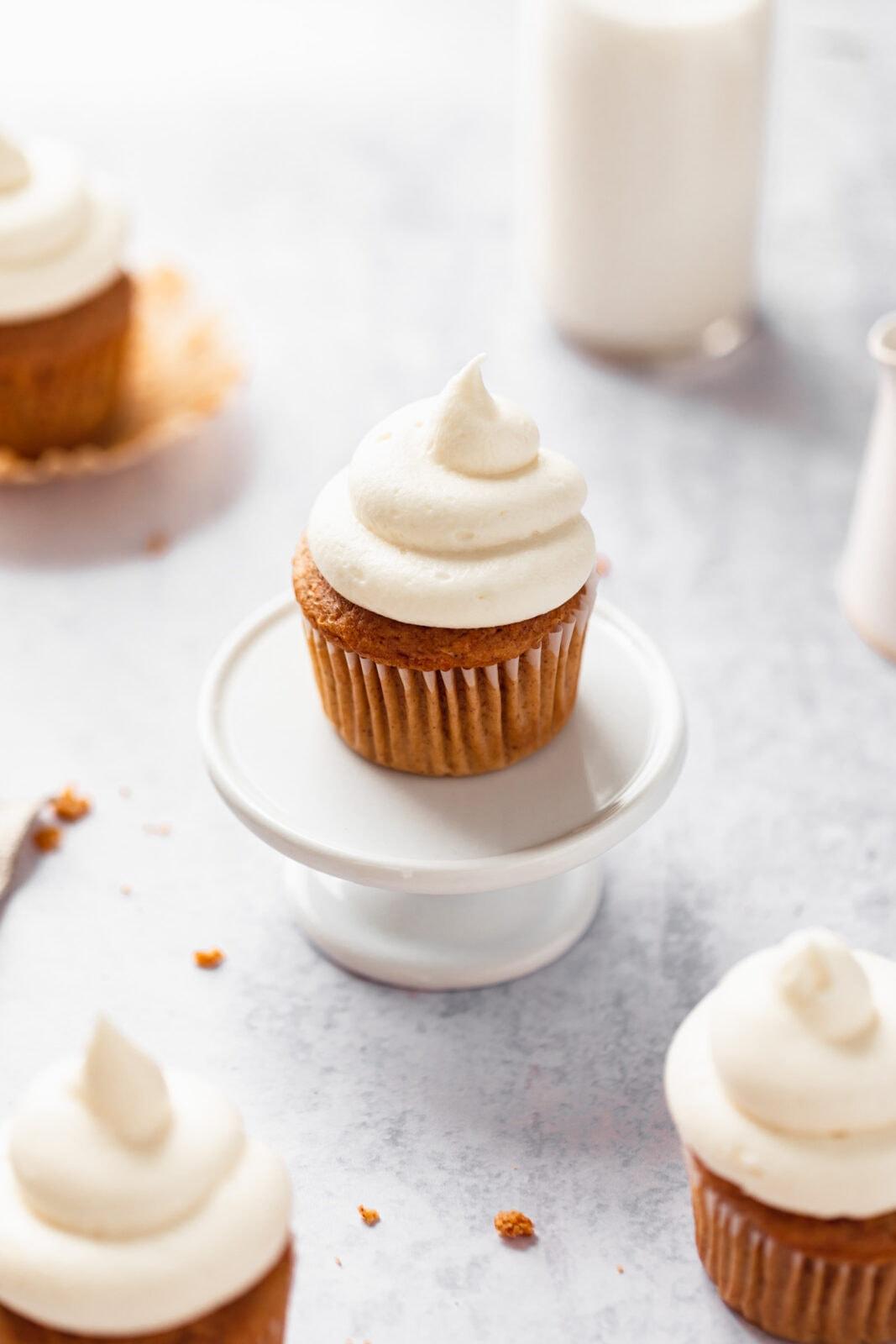carrot cake cupcake on a cake stand