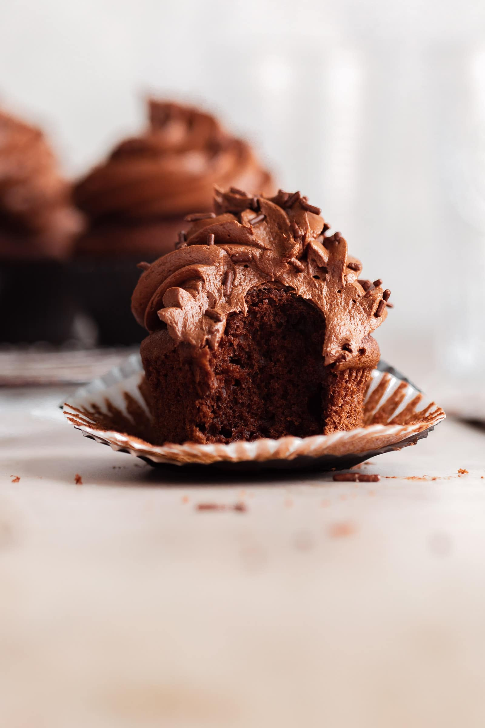chocolate frosted chocolate cupcake