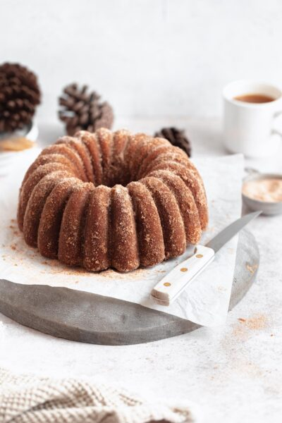 apple cider bundt cake with cinnamon sugar