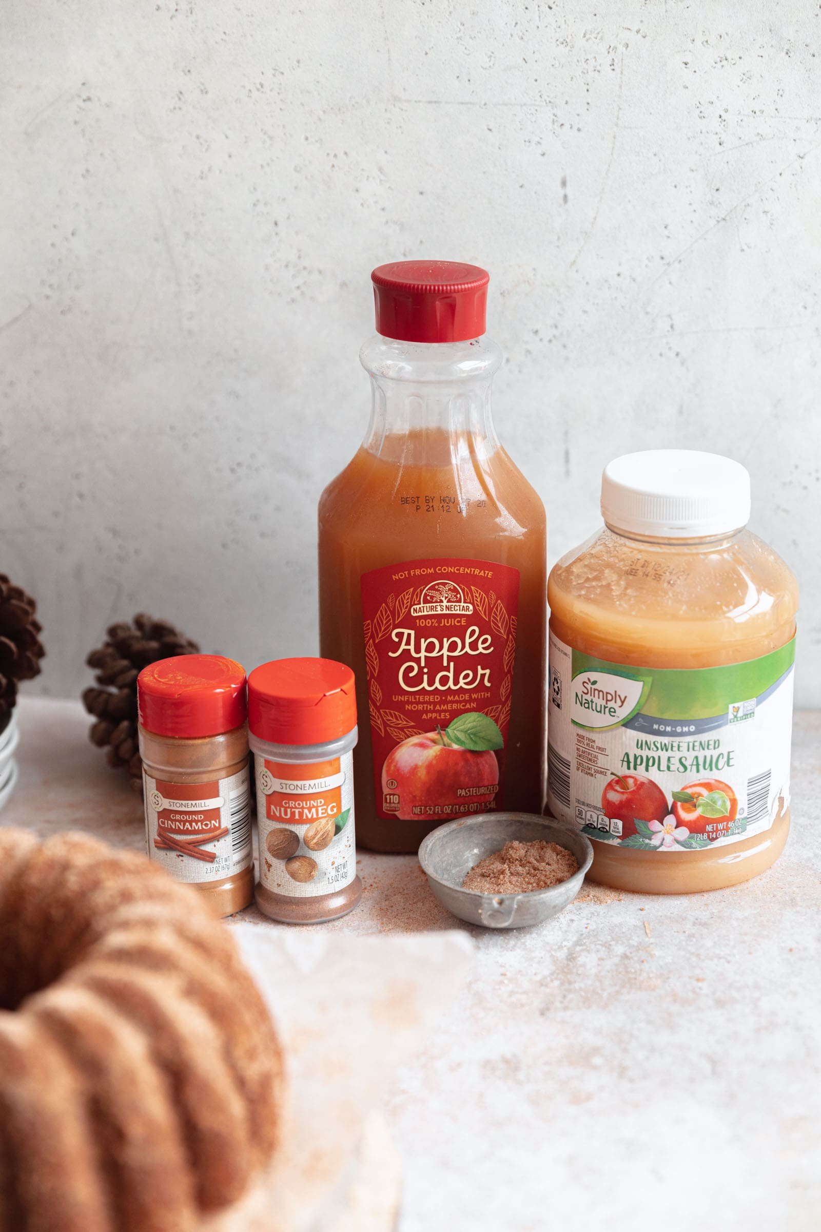 ingredients for apple cider bundt cake