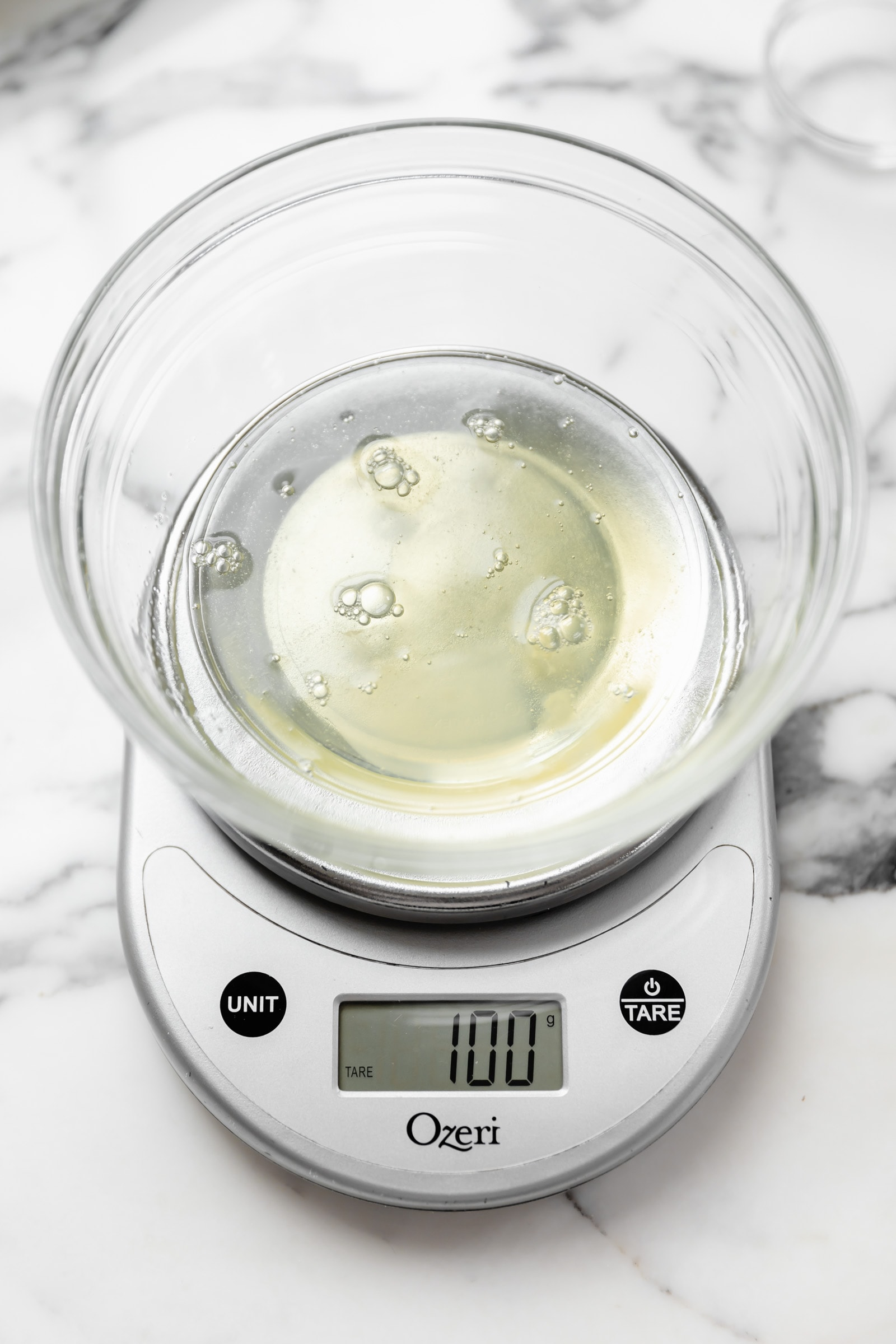 egg whites on kitchen scale