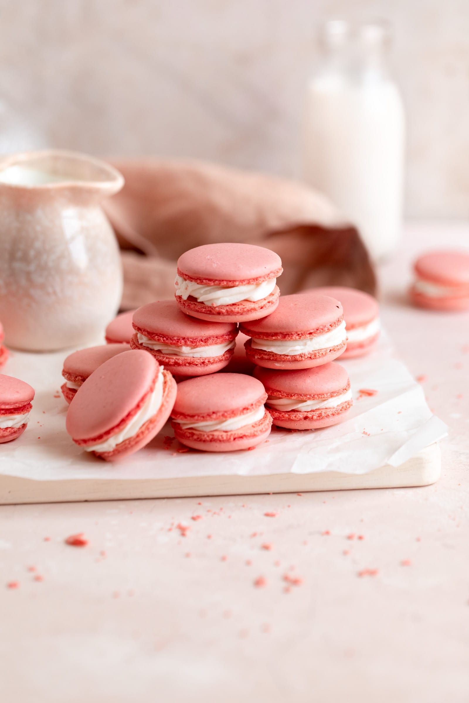 pink macarons in a stack