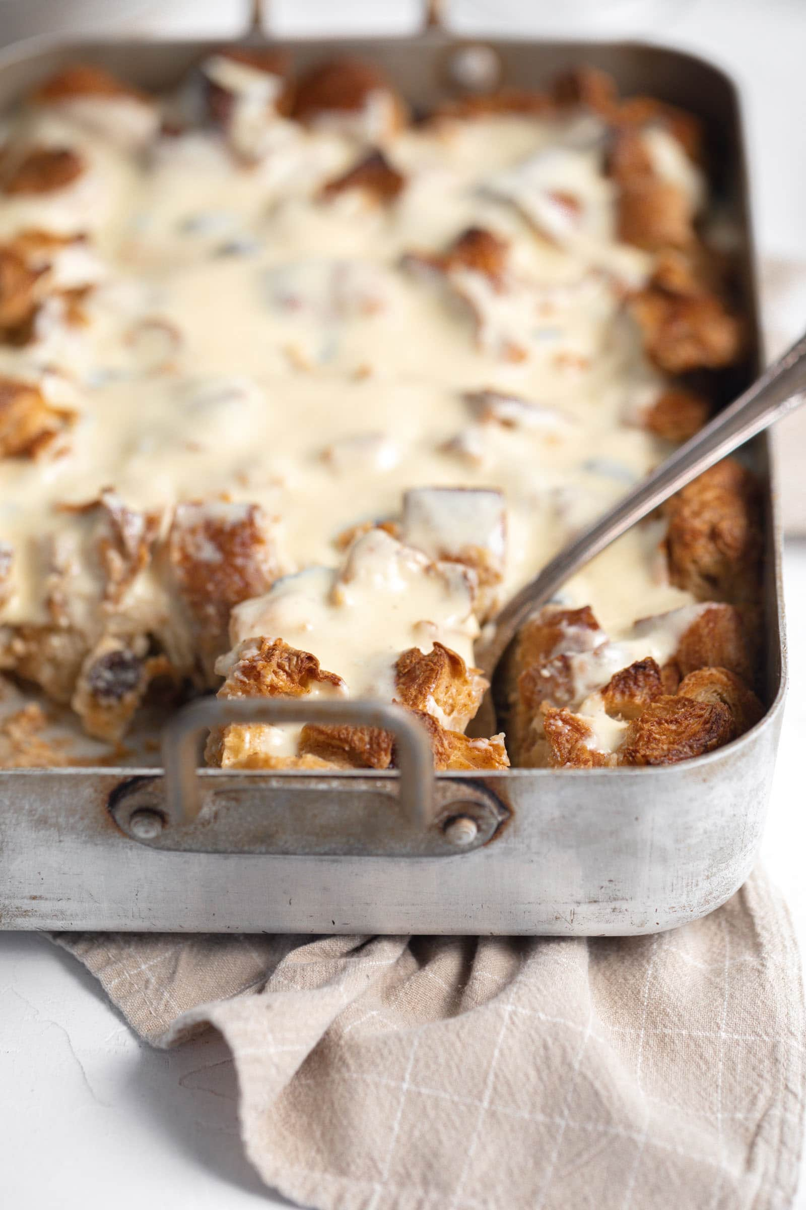 buttered rum raisin bread pudding