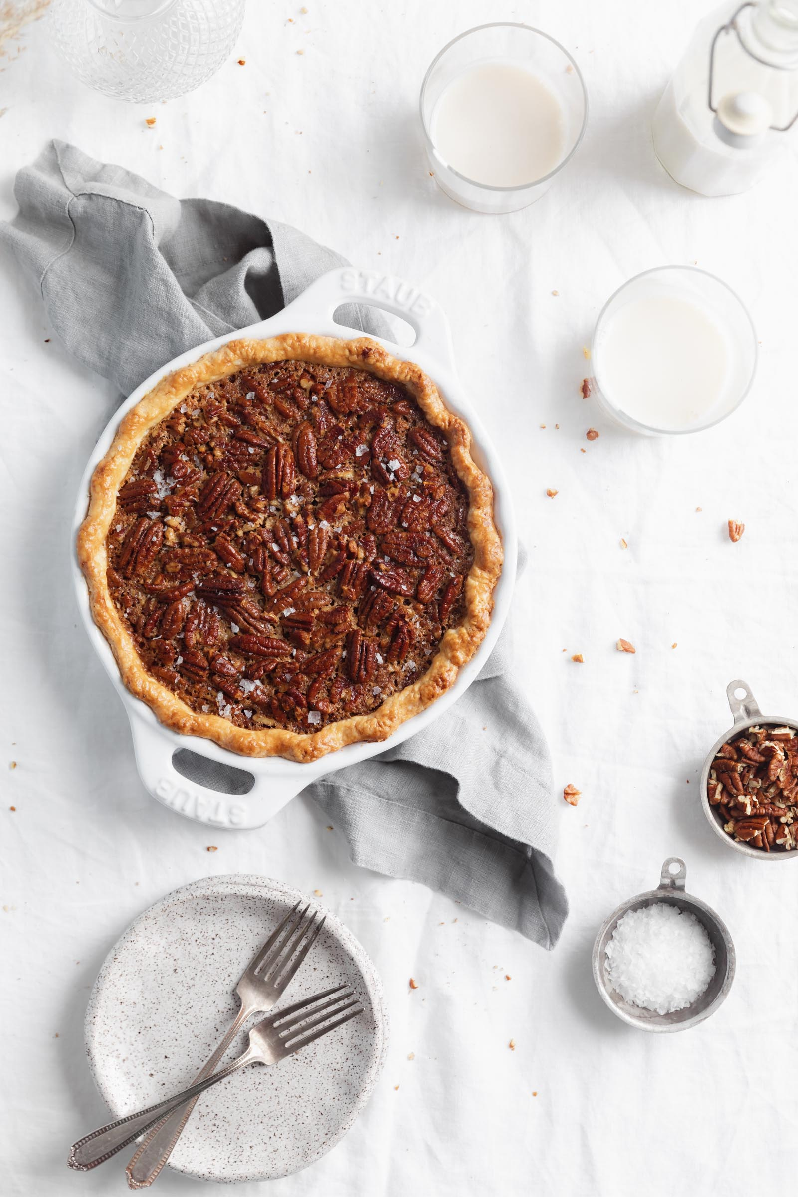 bourbon pecan pie in a pie dish