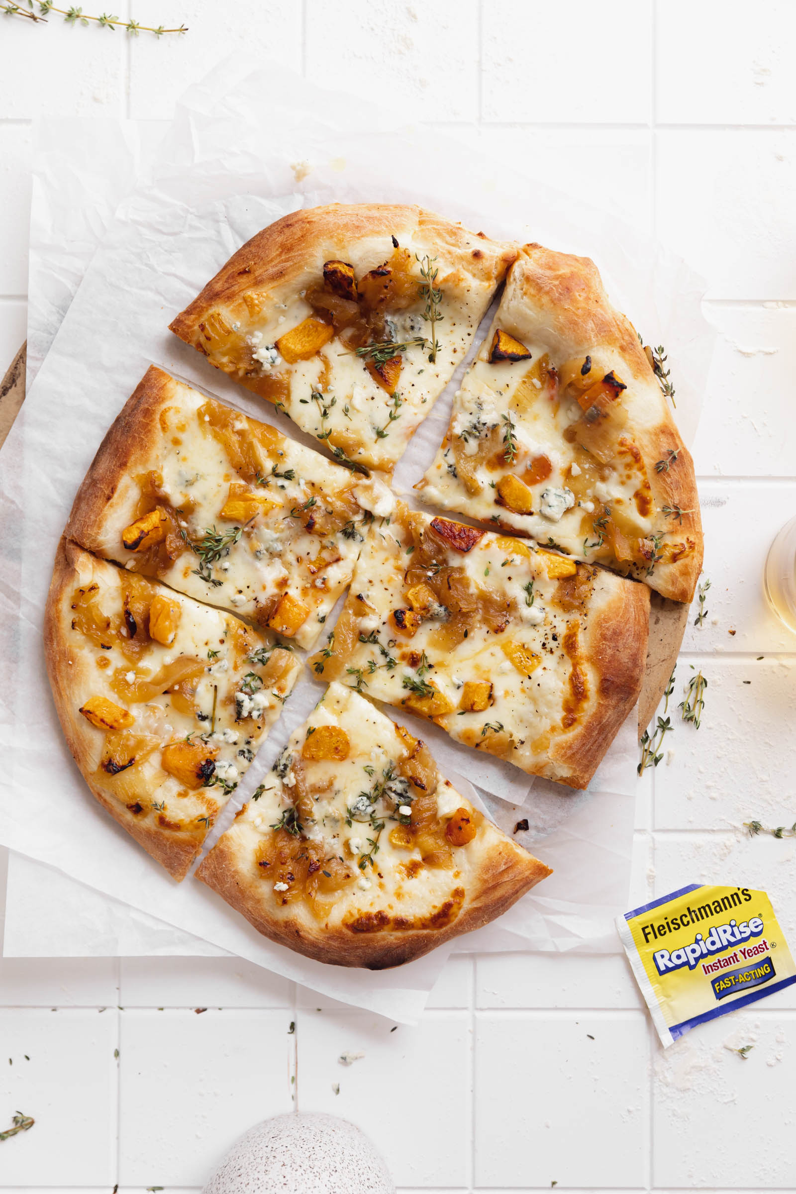 squash blue cheese white pizza