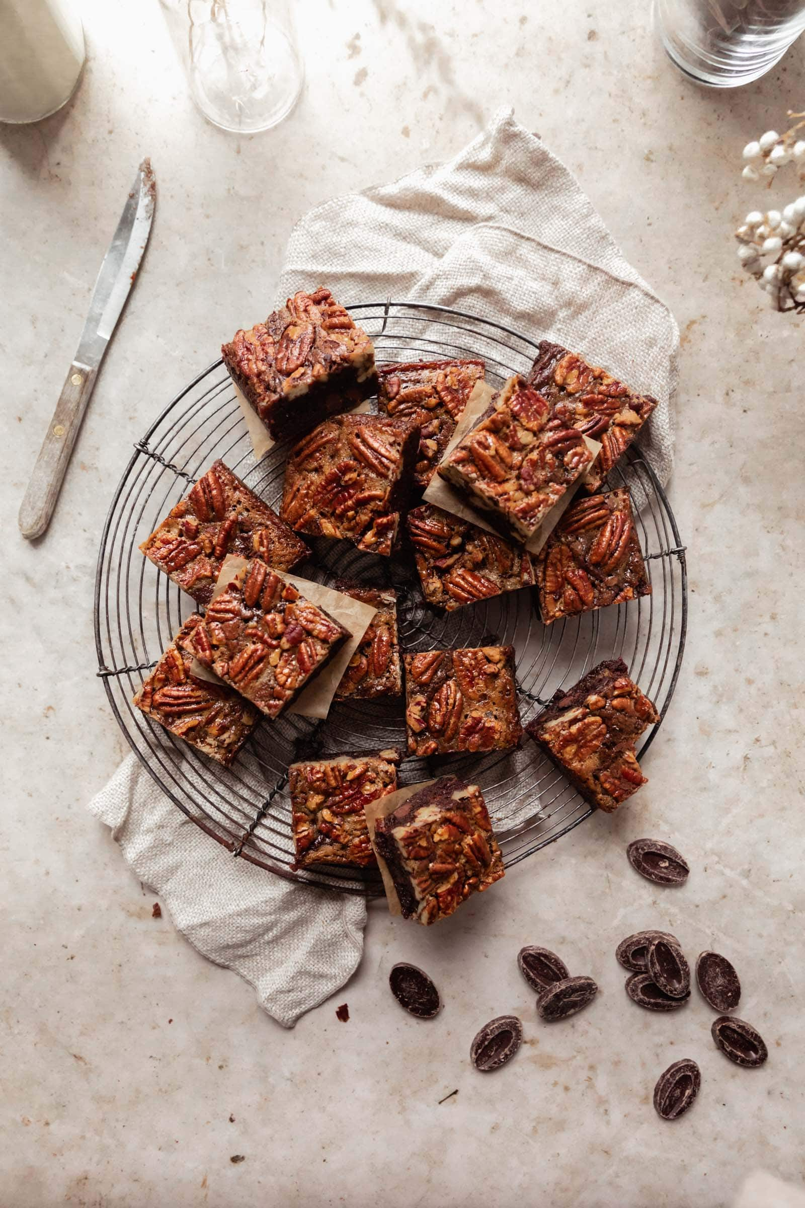 pecan pie brownies on a cooling rack