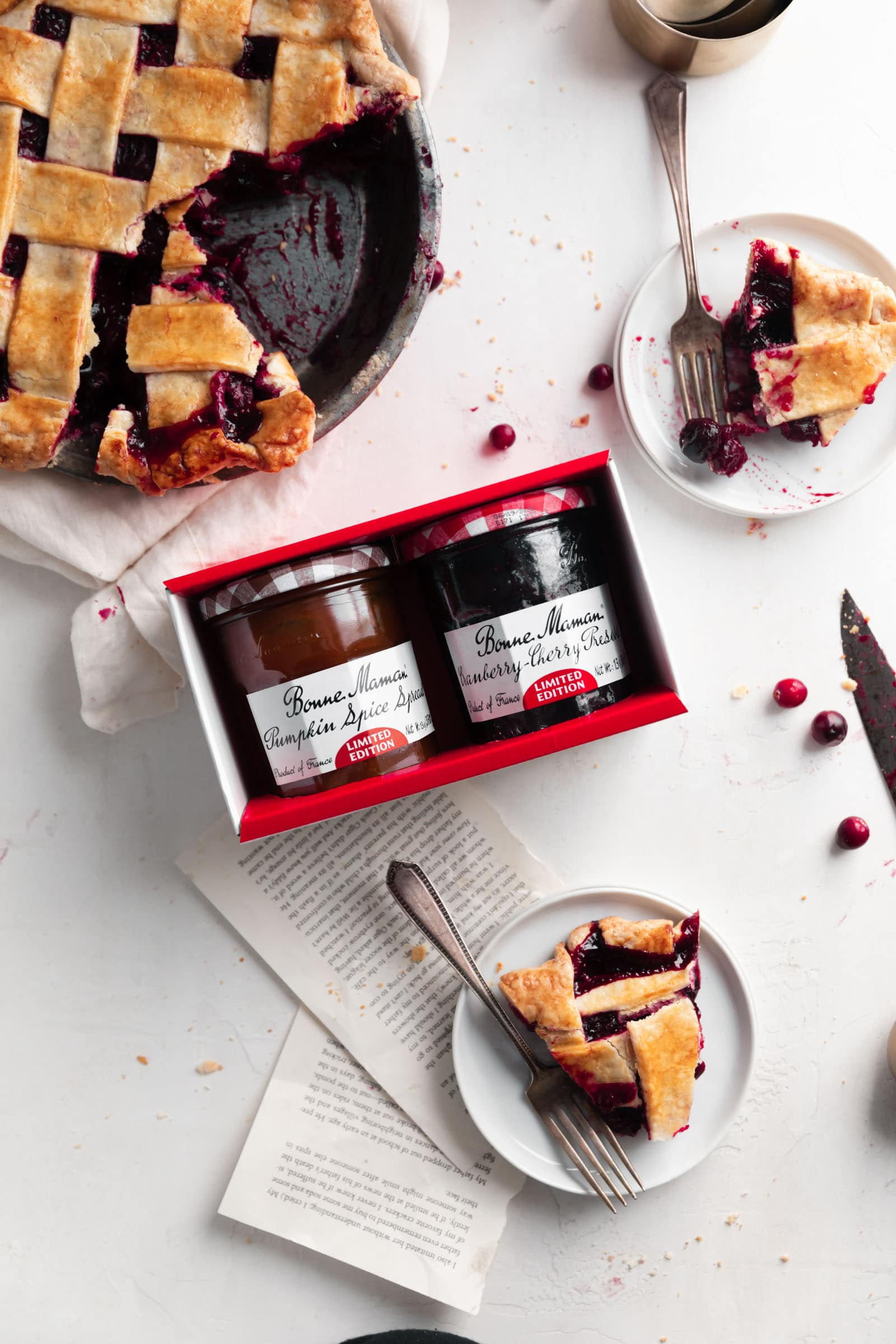 cranberry cherry preserves and pumpkin spice spread