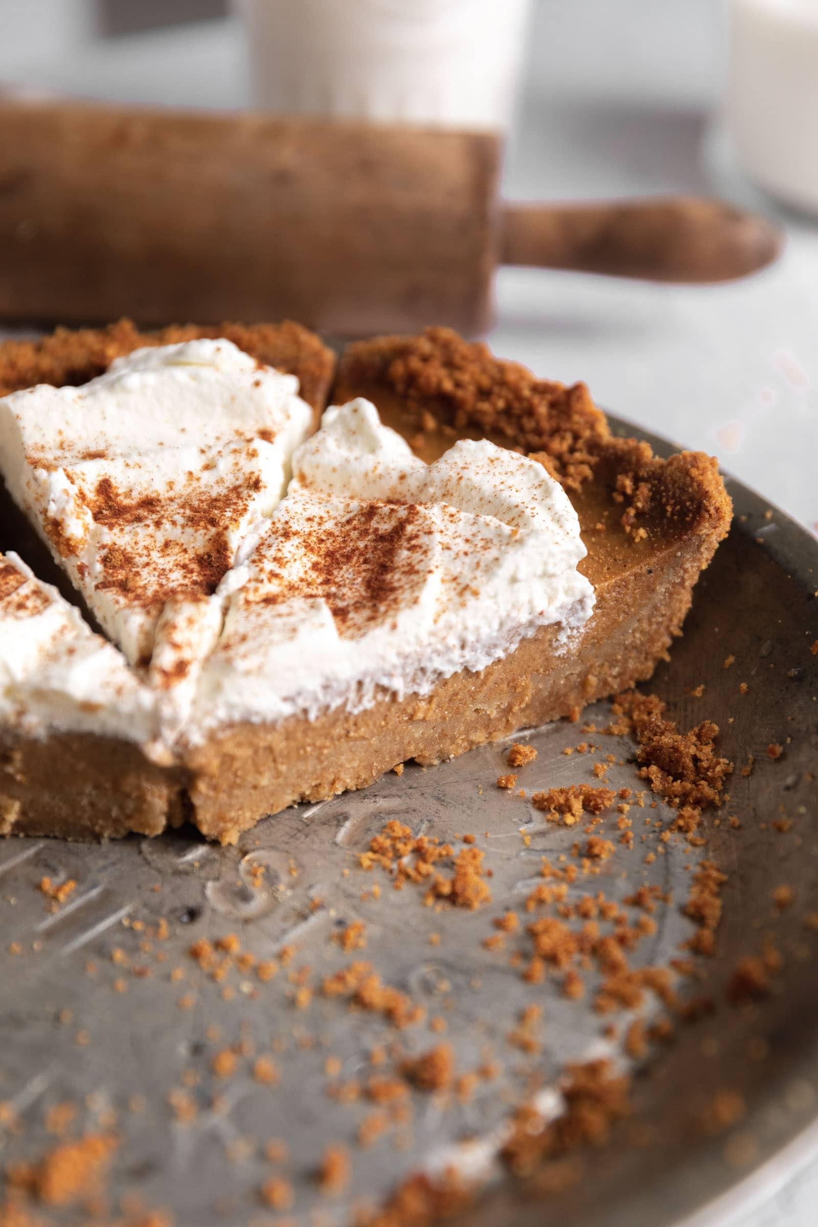 pumpkin pie in a pan