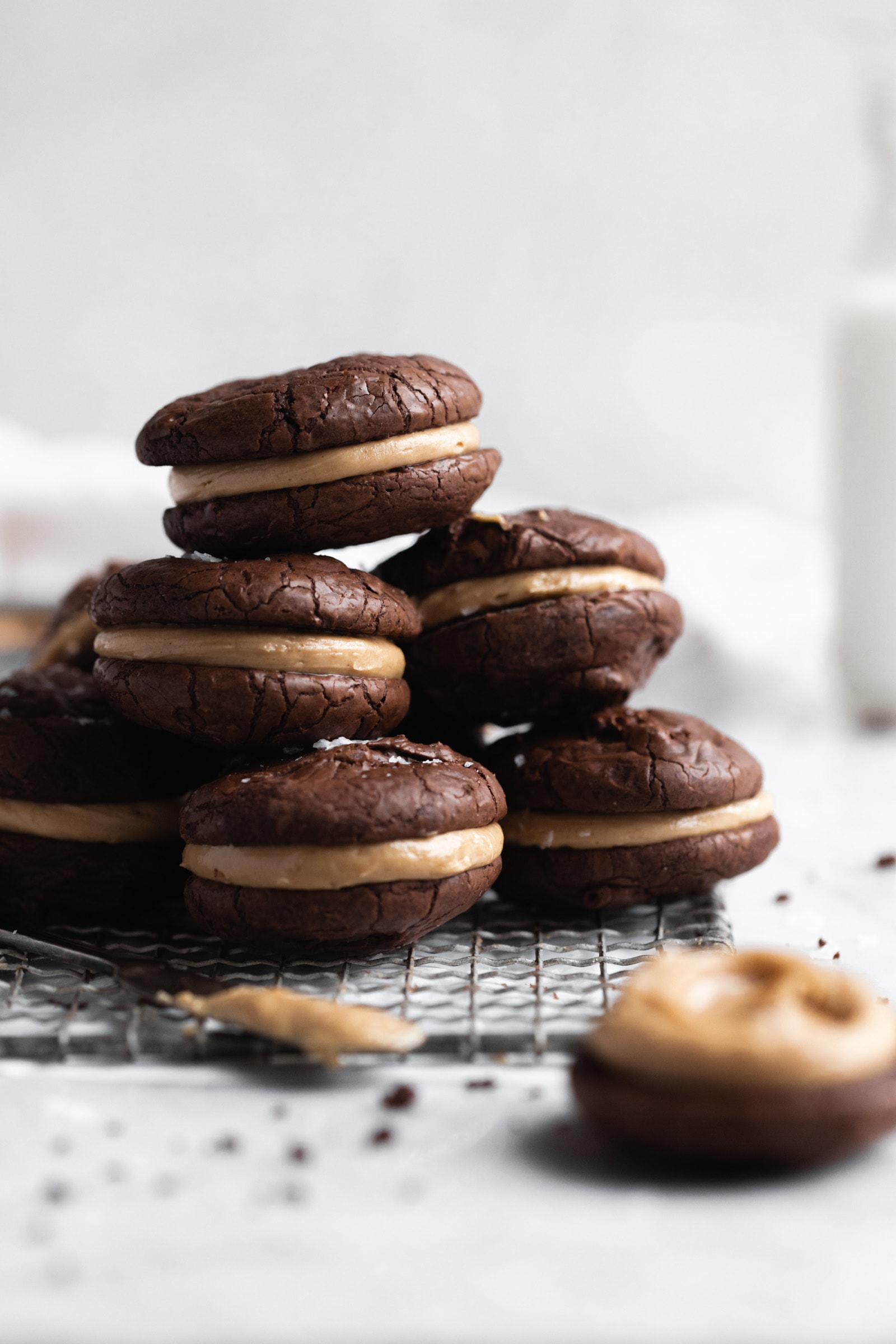 stacks of peanut butter chocolate sandwich cookies