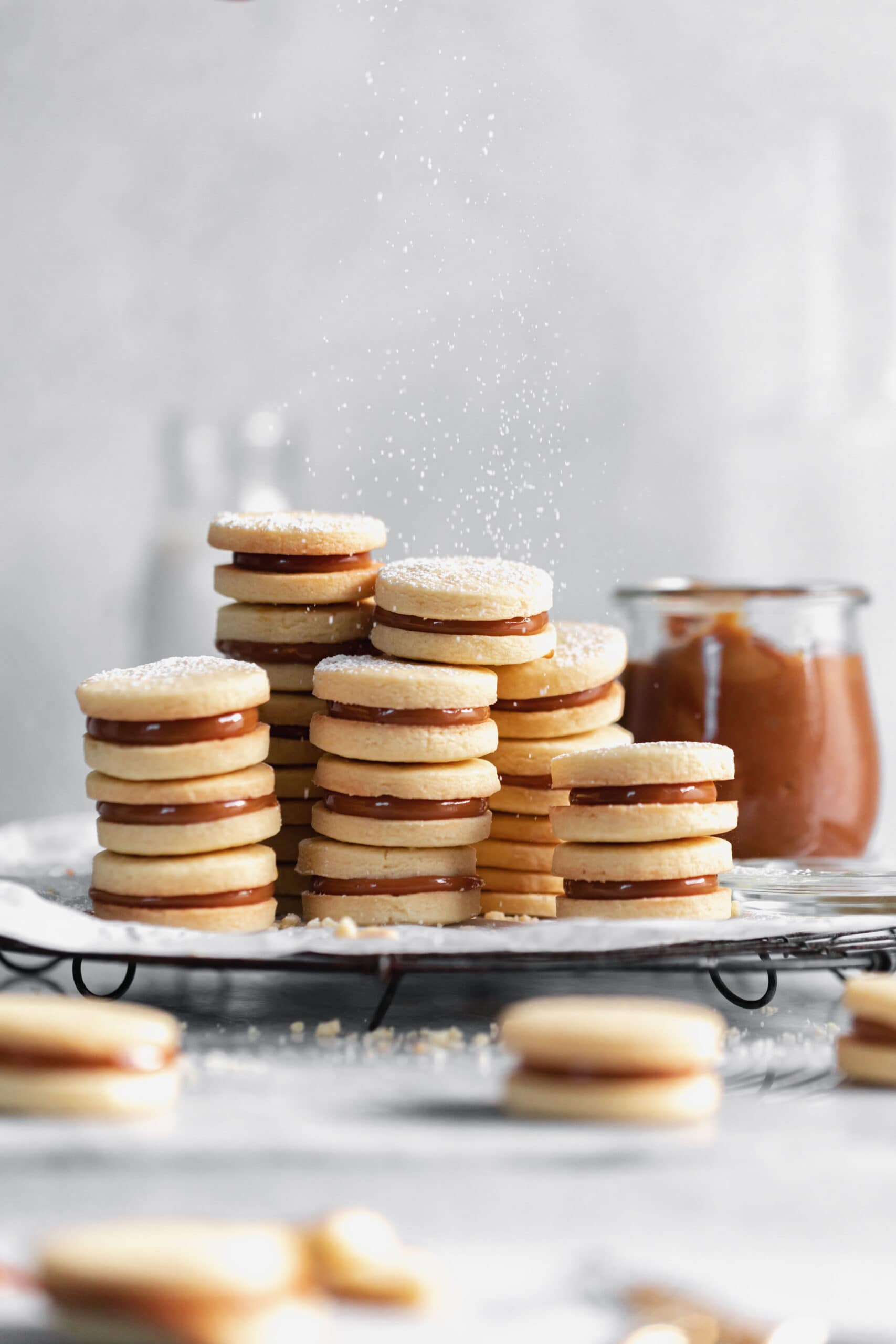 stacks of dulce de leche sandwich cookies