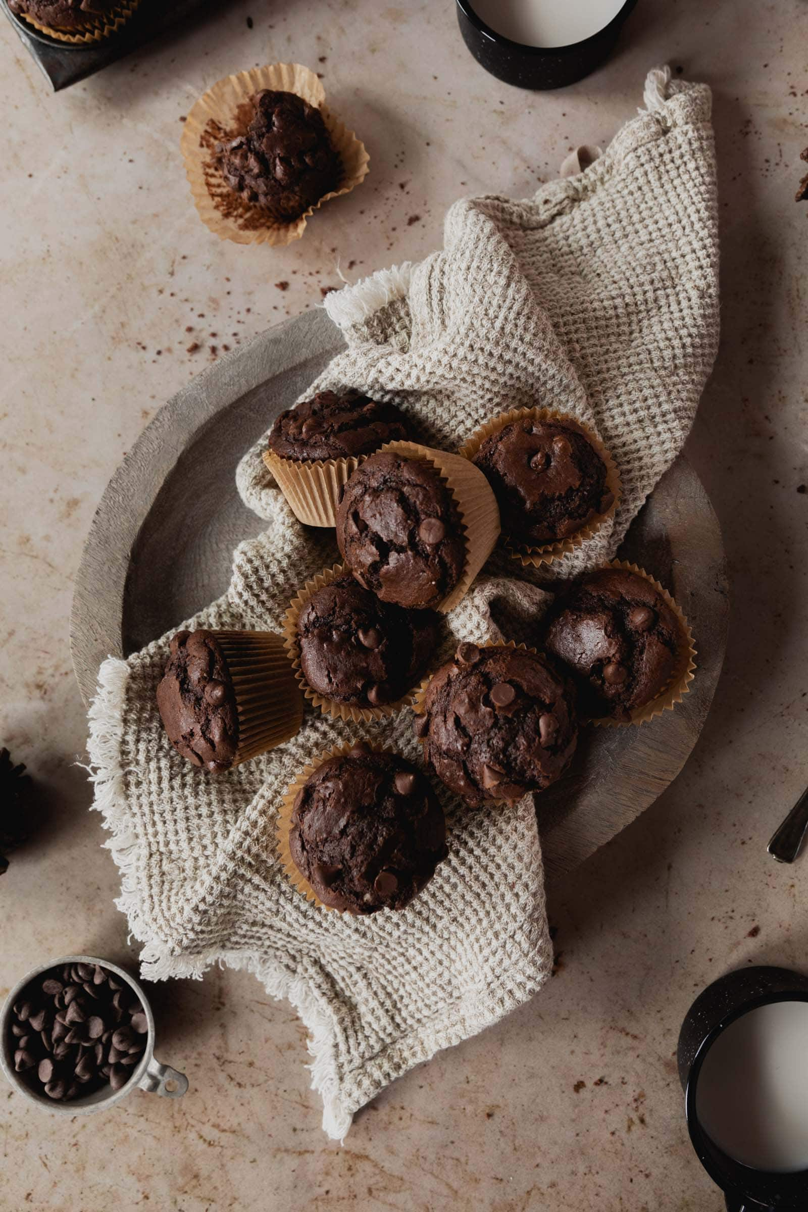 double chocolate muffins with chcolate chips