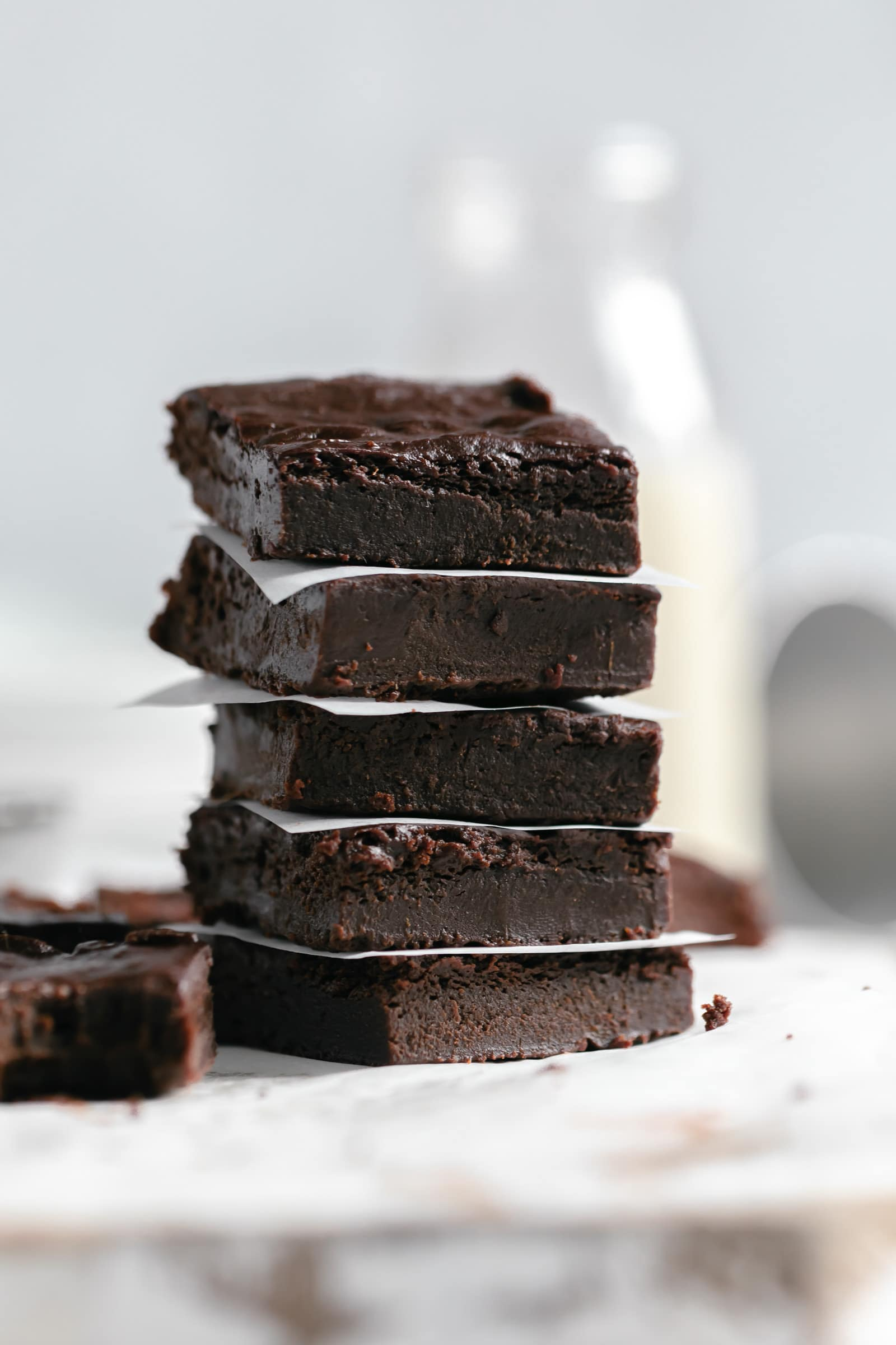 stack of fudgy sweet potato brownies