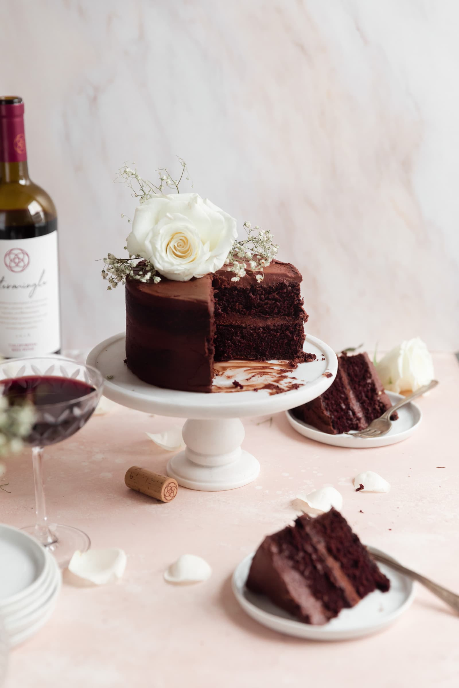red wine chocolate cake with slices out