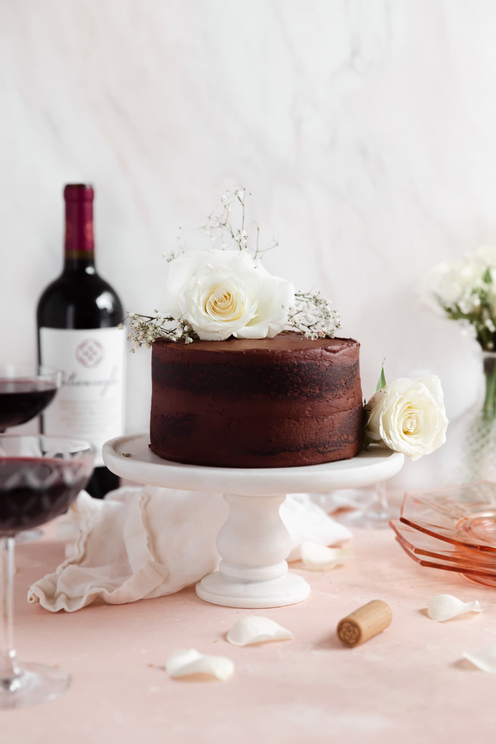 red wine chocolate cake on a cake stand