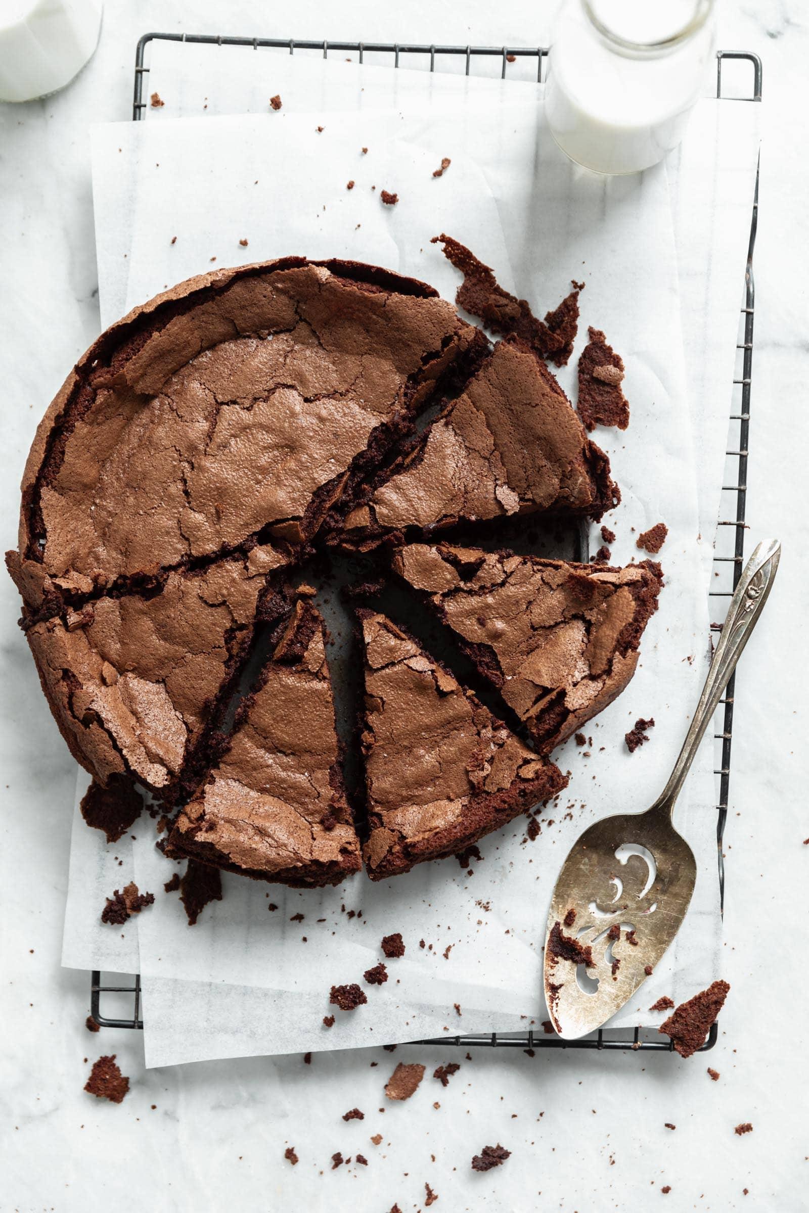 fallen chocolate cake cut into slices