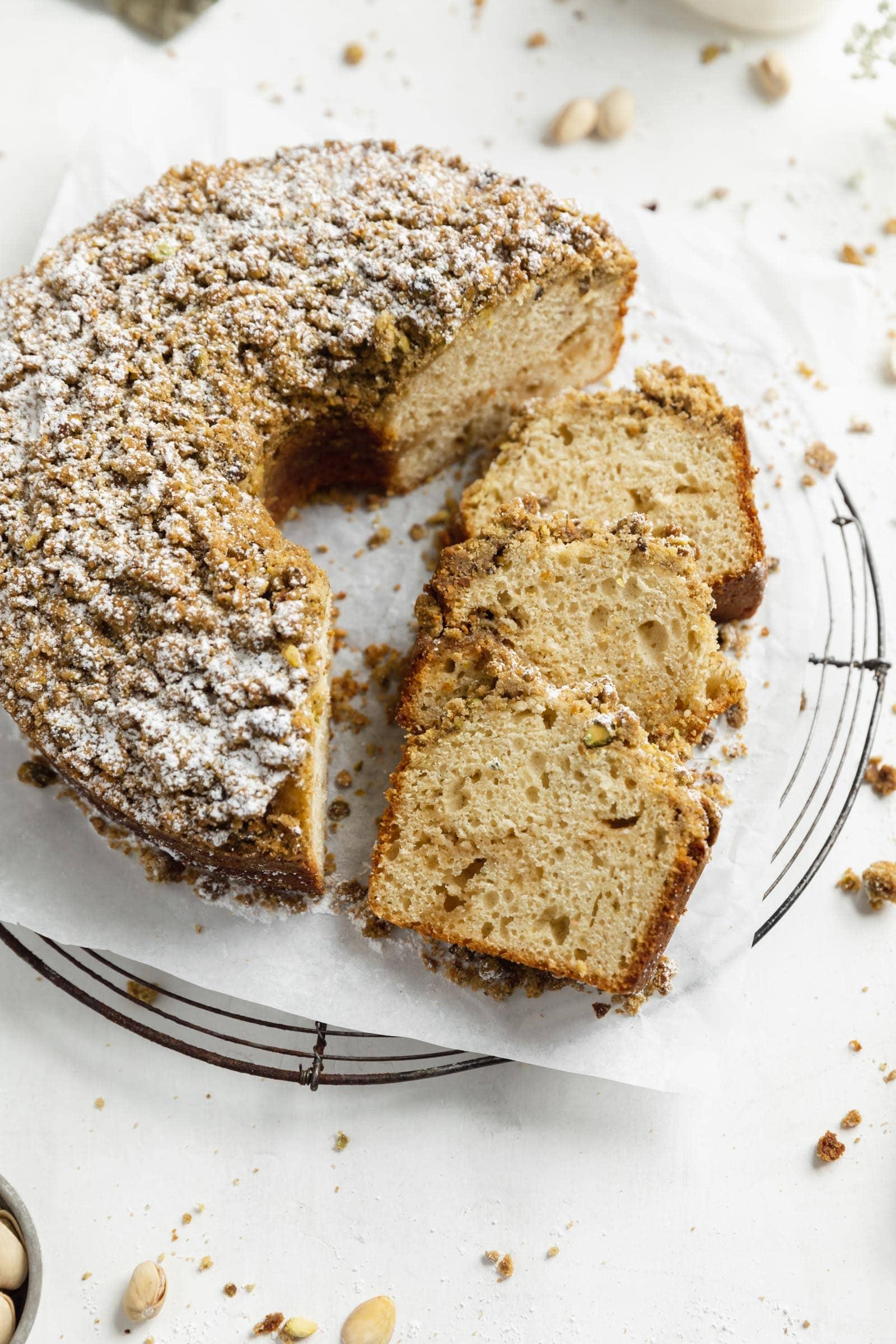 cardamom pistachio coffee cake with pistachio streusel