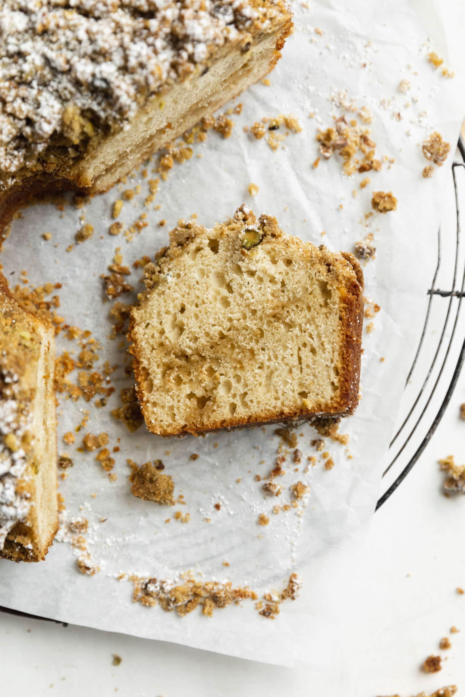 cardamom pistachio coffee cake heart