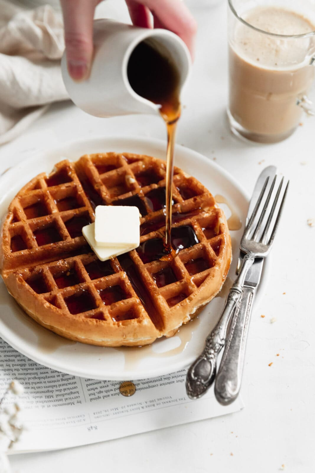 fluffy belgian waffles with syrup