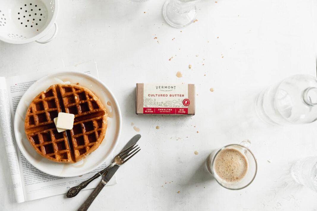 the best homemade belgian waffles wtih butter