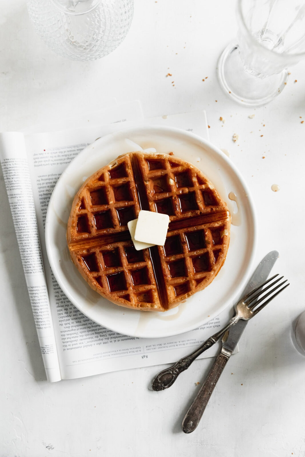 belgian waffle with butter
