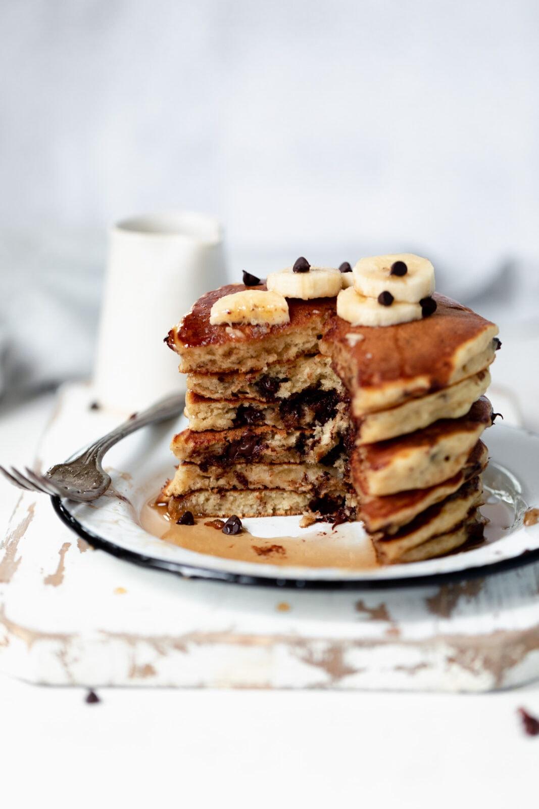 banana pancakes in a stack