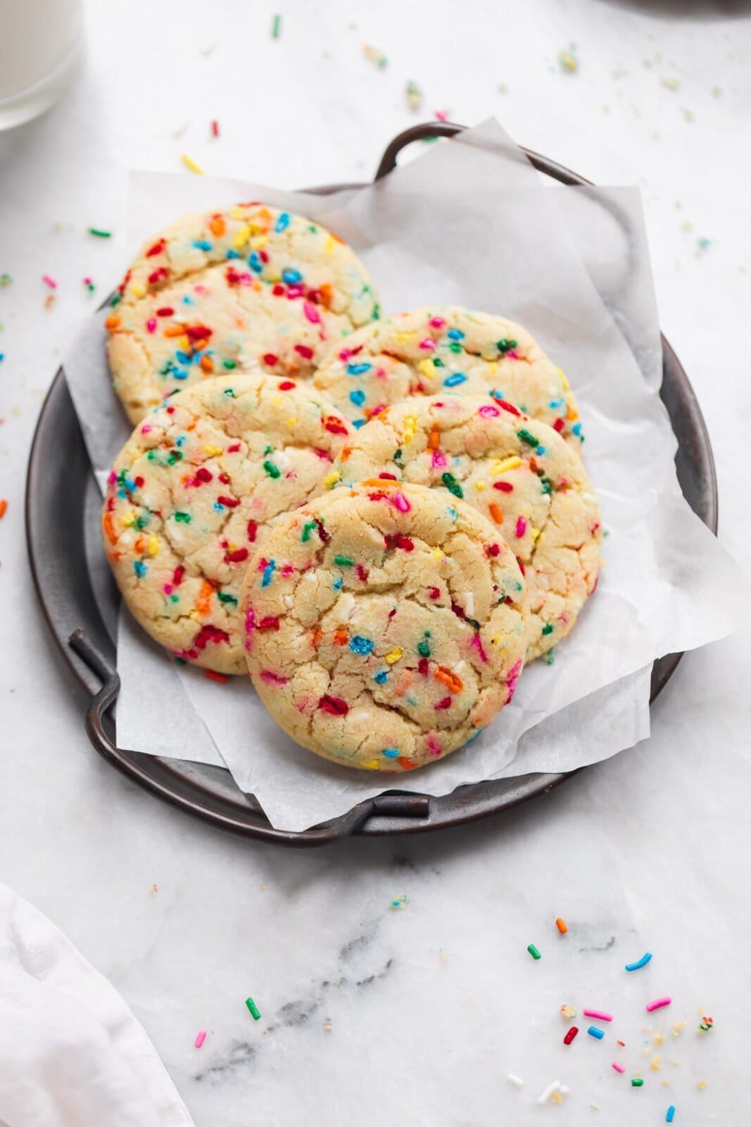 easy funfetti cookies on a tray