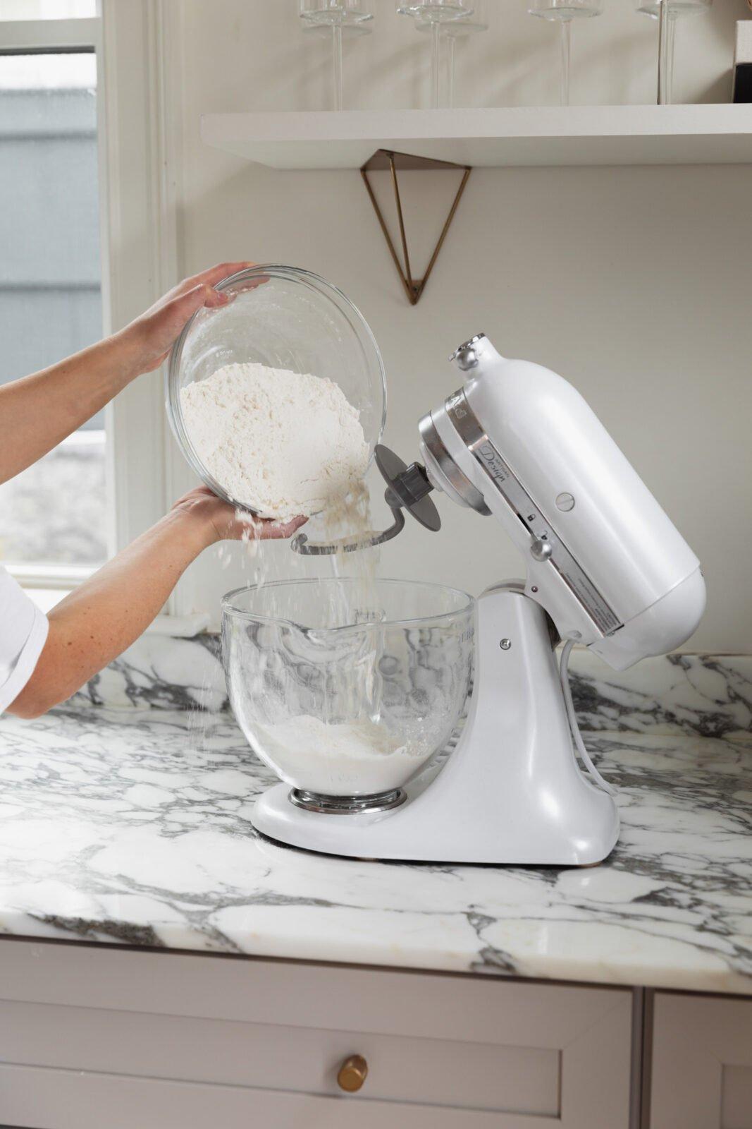 flour going into bowl
