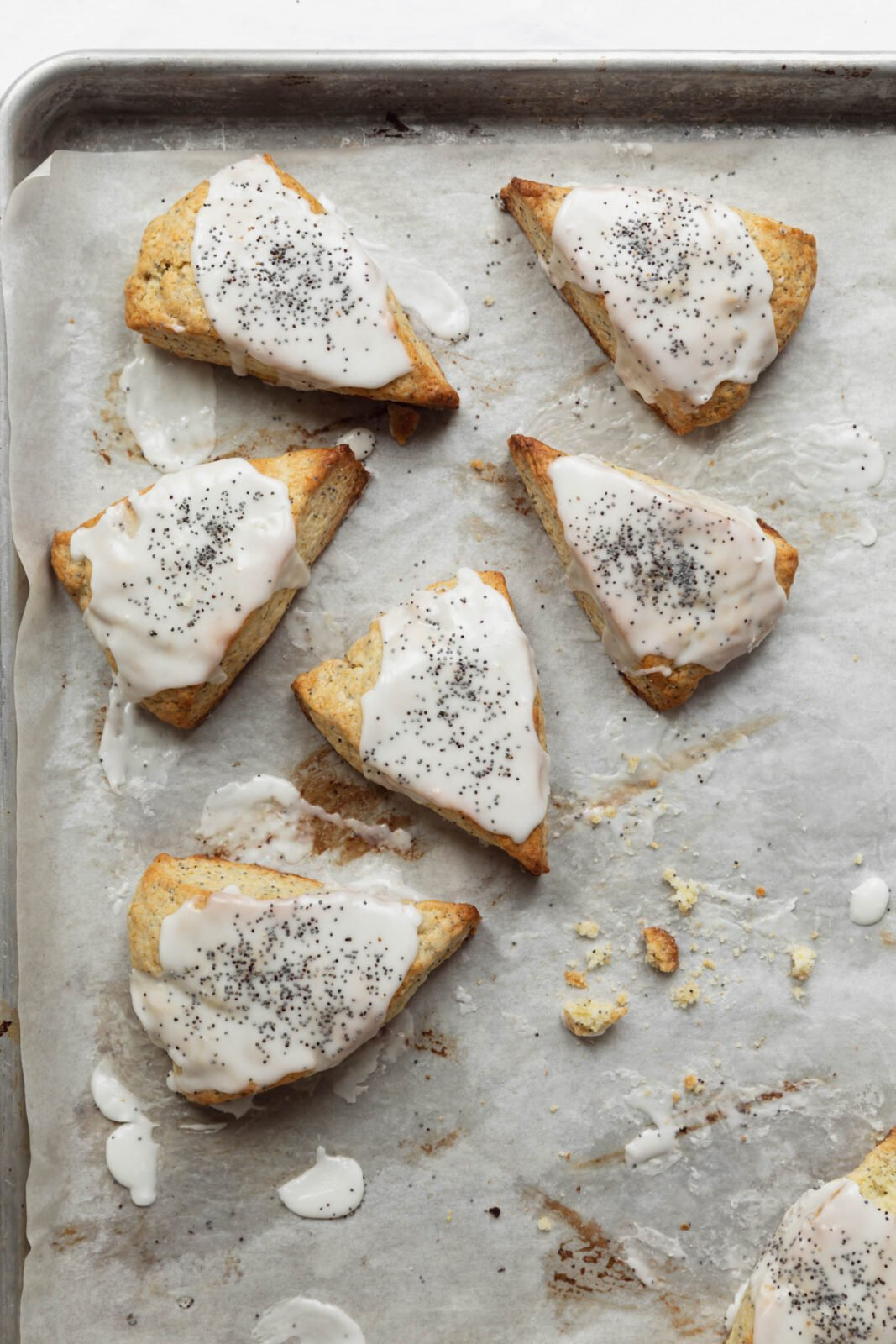 lemon poppyseed scones on a baking sheet