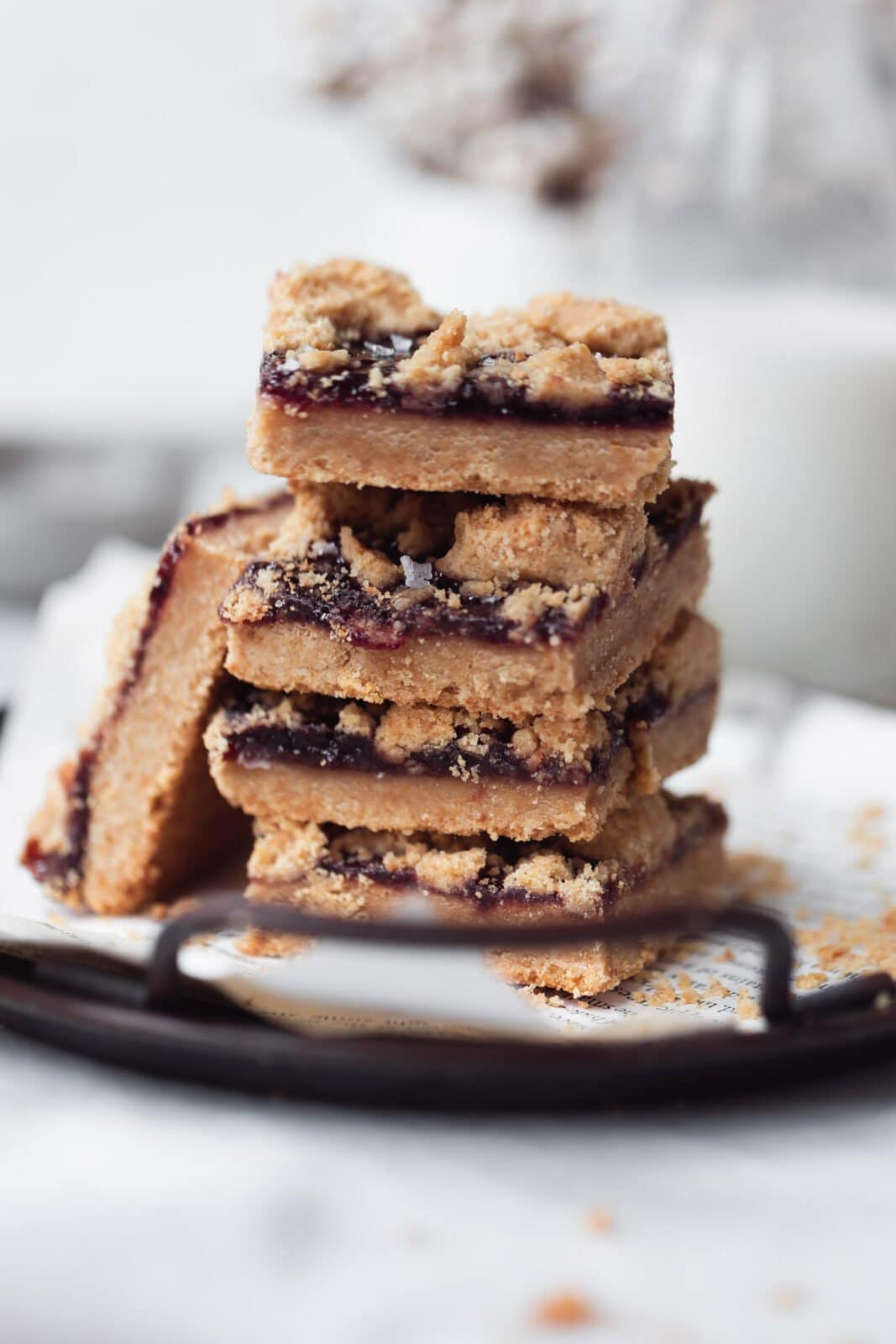 stack of peanut butter jelly bars
