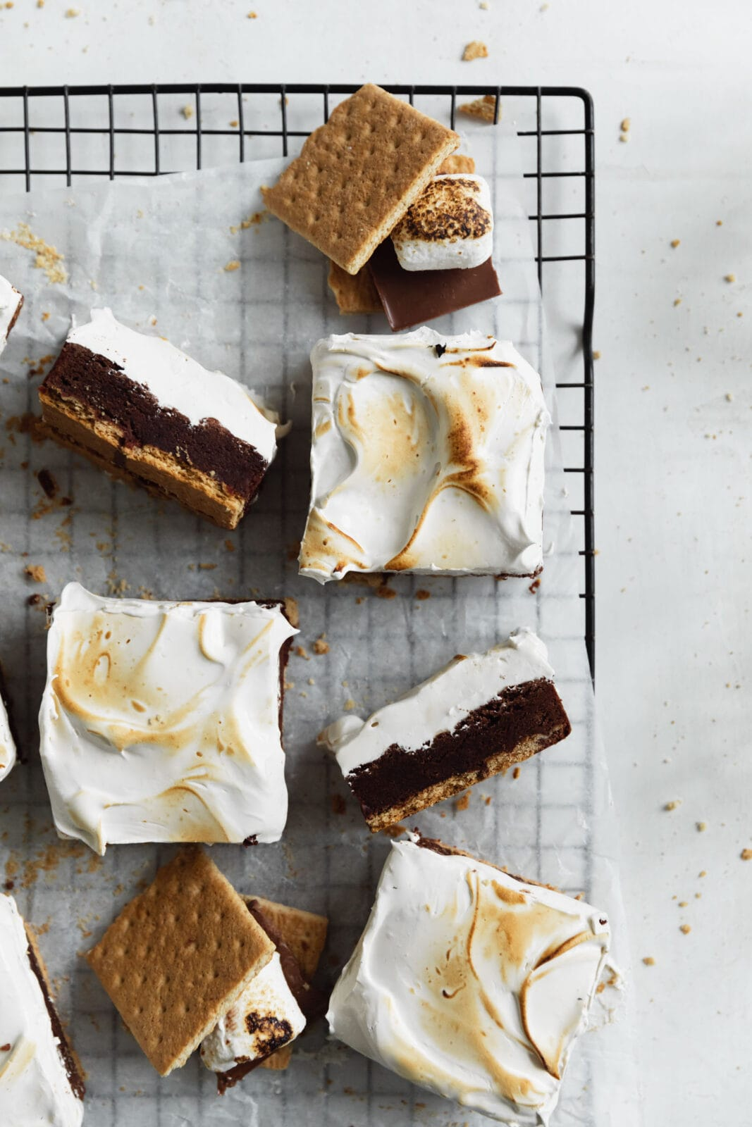 homemade s'mores brownies with graham crackers and marshmallows