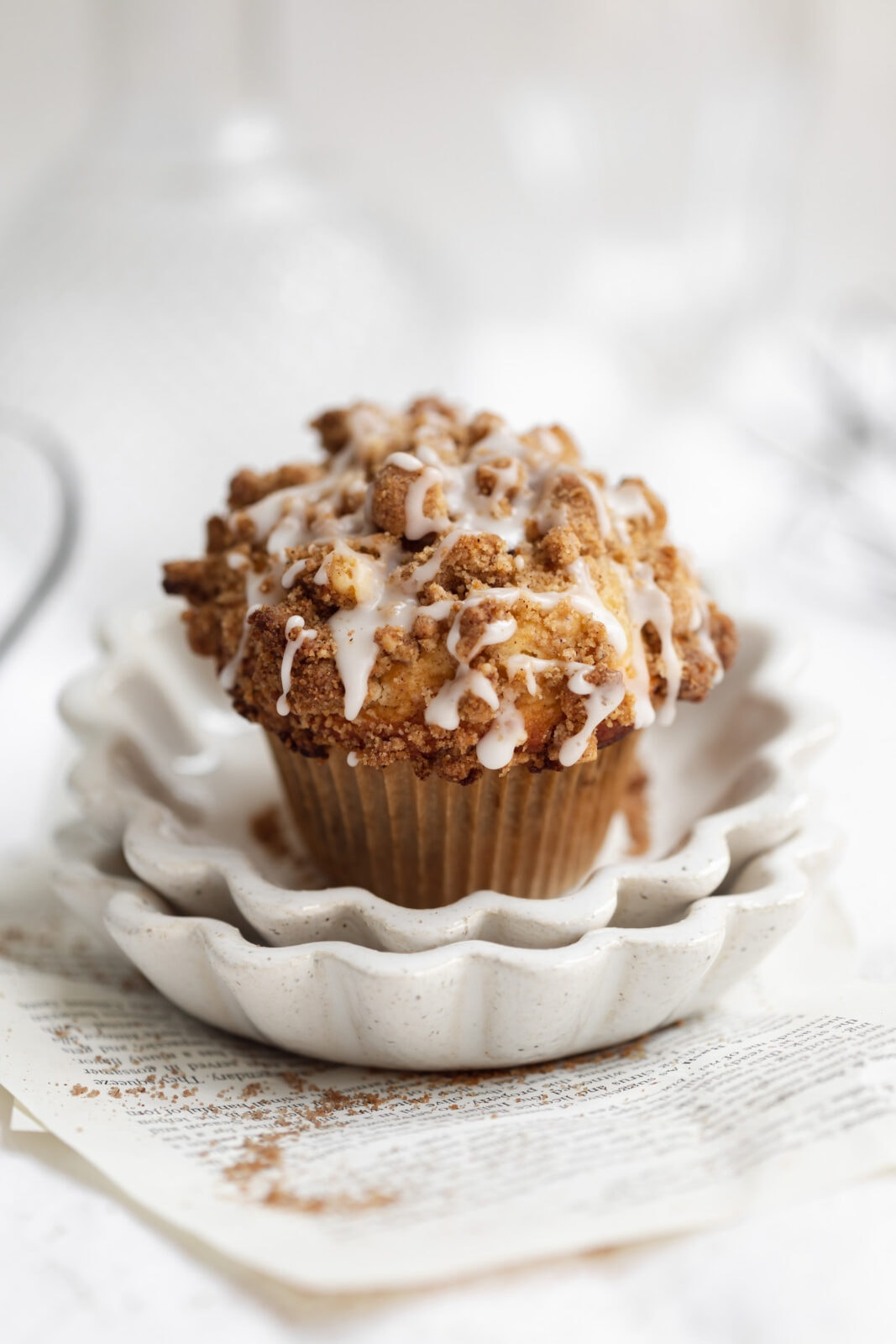 coffee cake muffins with streusel and icing