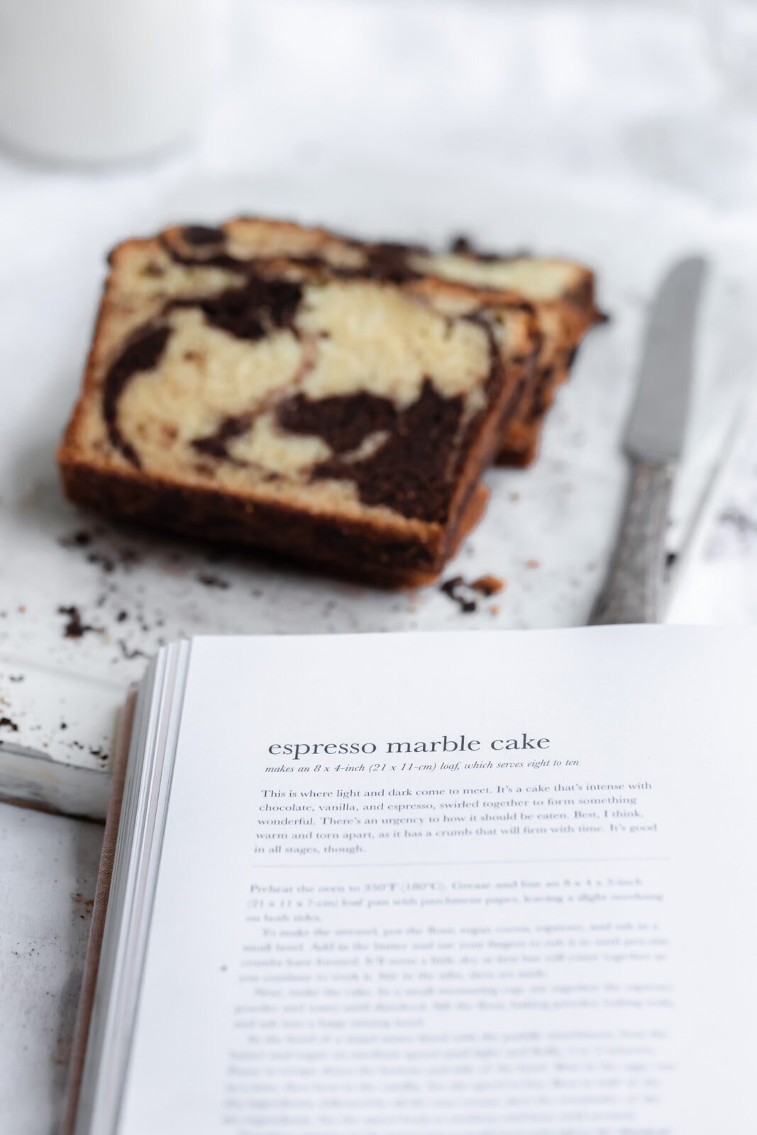 espresso marble cake slice