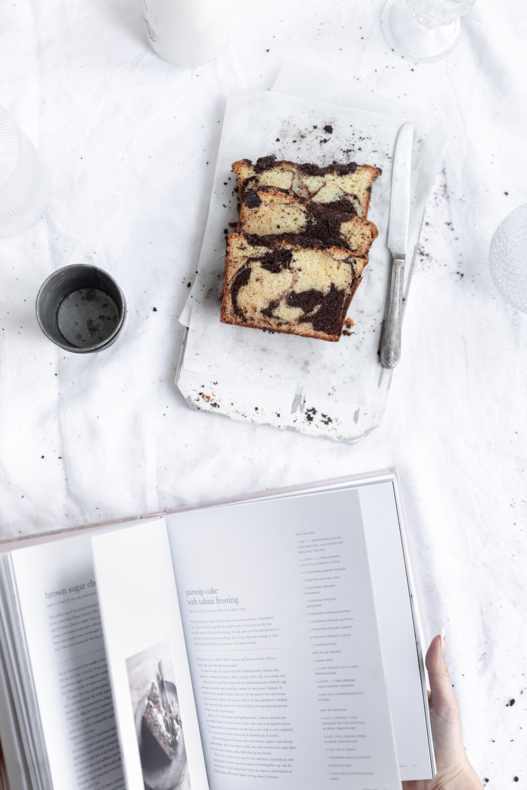 espresso marble cake with cook book