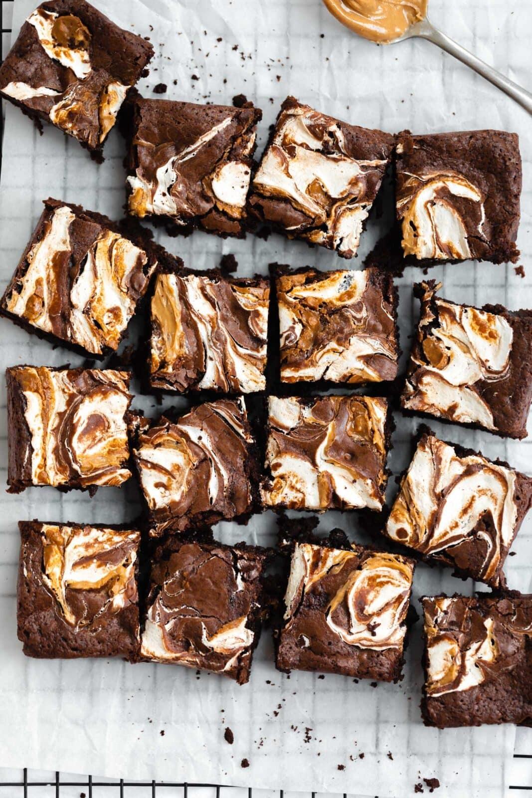 fluffernutter brownies on a cooling rack