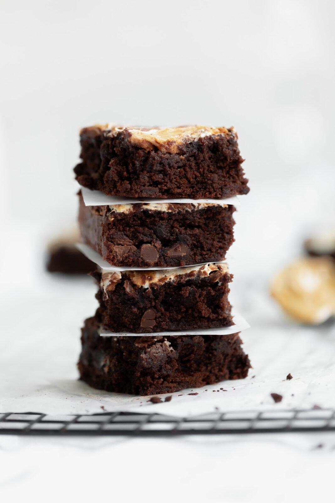 stack of fluffernutter brownies