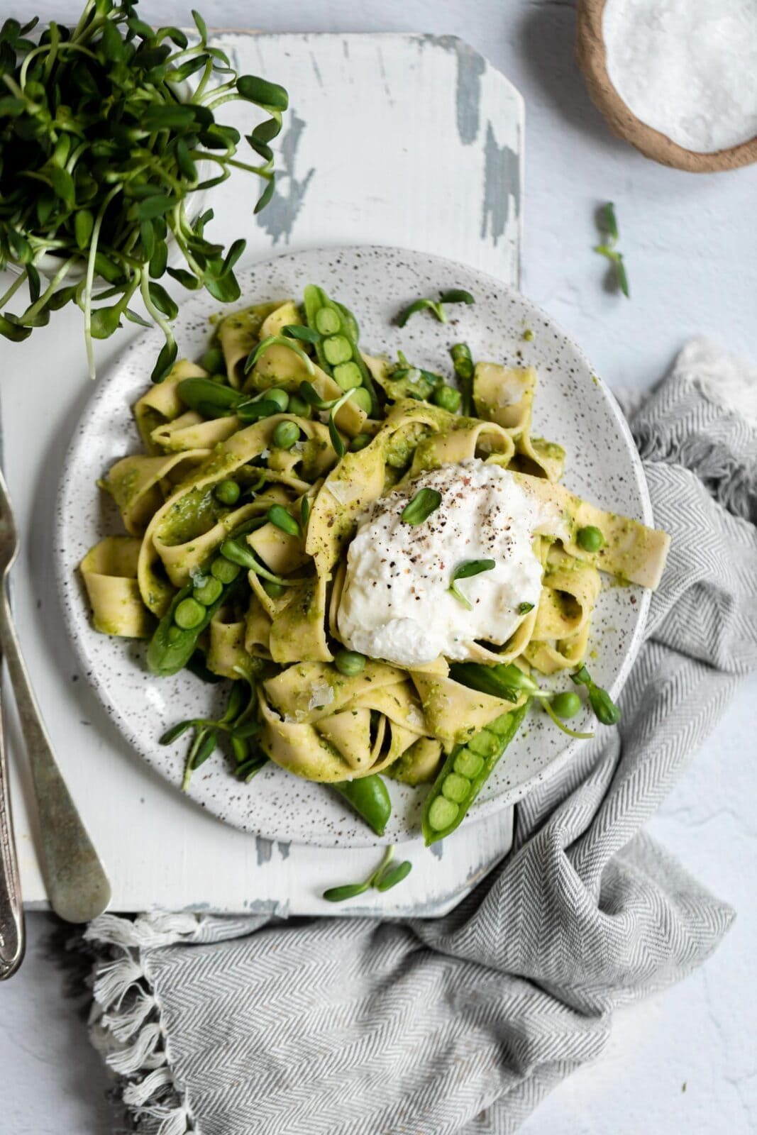 pea pesto pasta on a plate