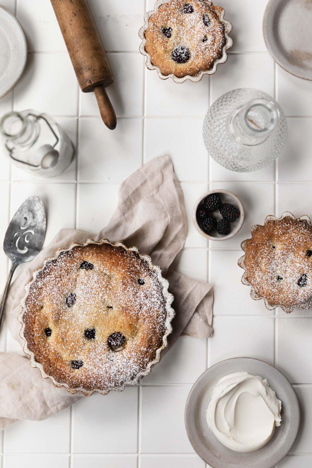 blackberry almond cake brunch scene